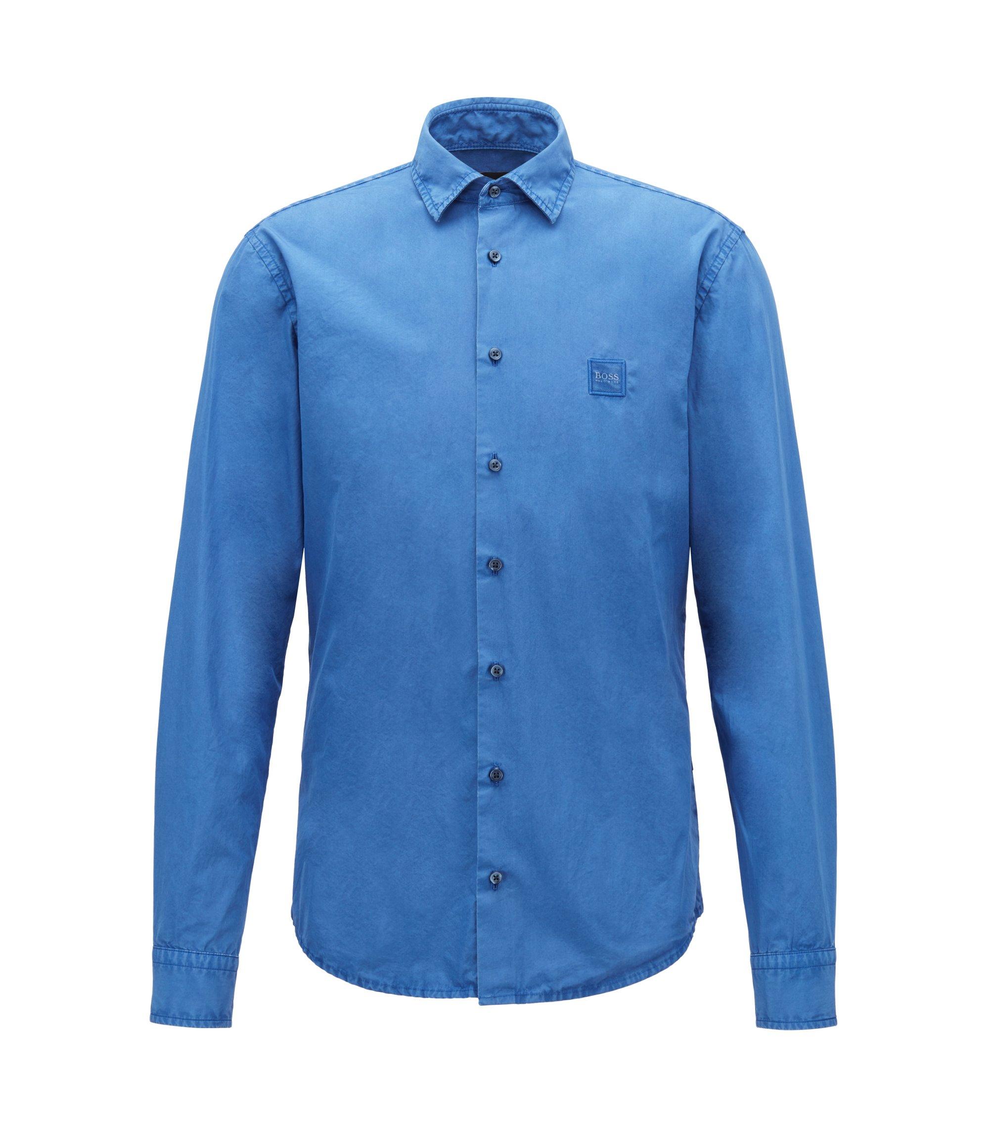 Camicia slim fit in cotone manocarta trattato con tintura a pigmenti, Blu