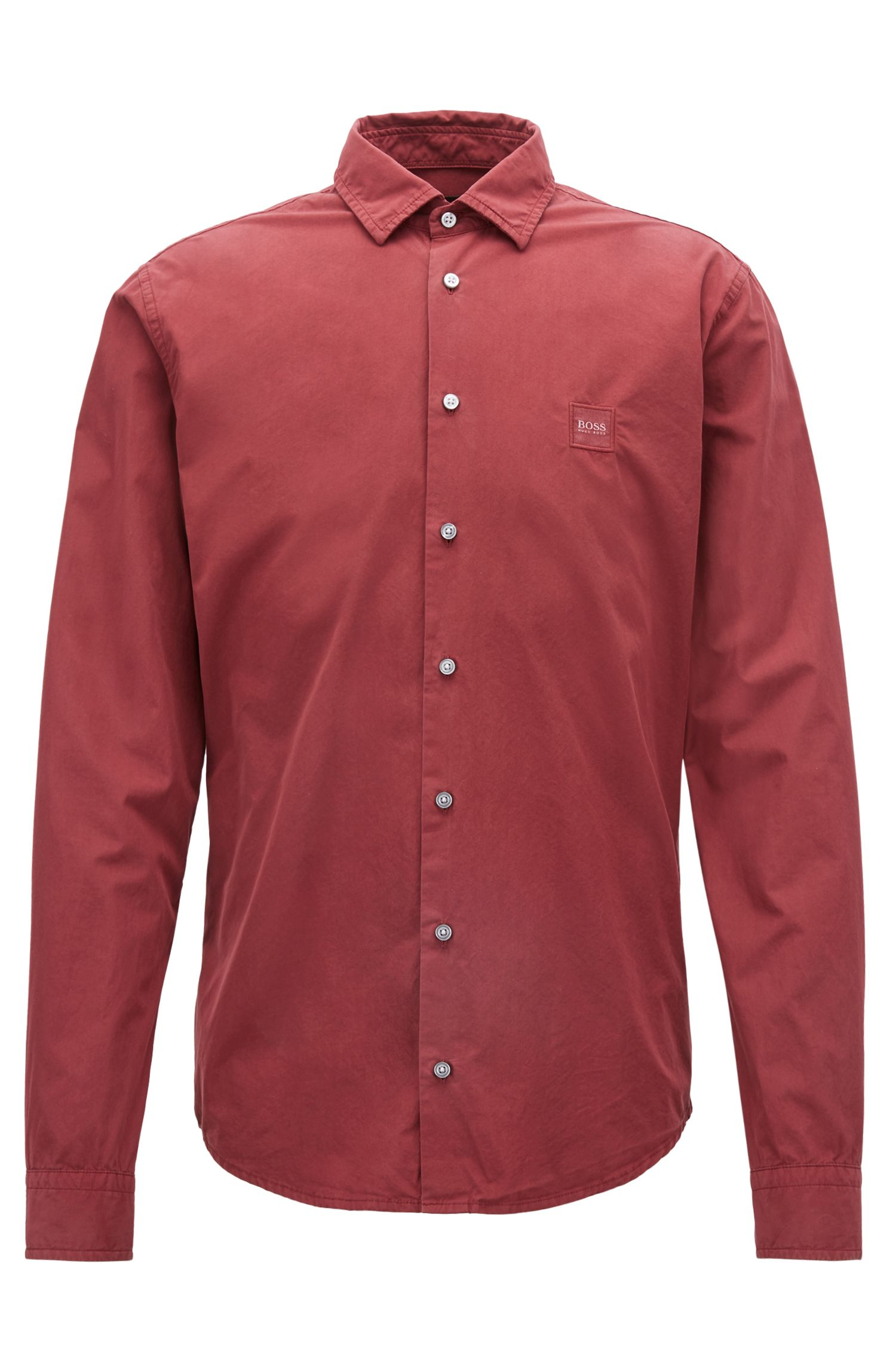 Slim-fit shirt in paper-touch pigment-dyed cotton, Red