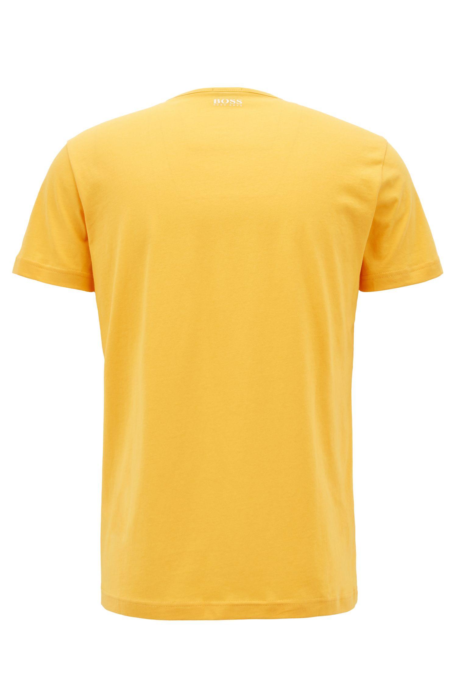 Camiseta de manga corta en algodón con diseño del logo estampado, Amarillo claro