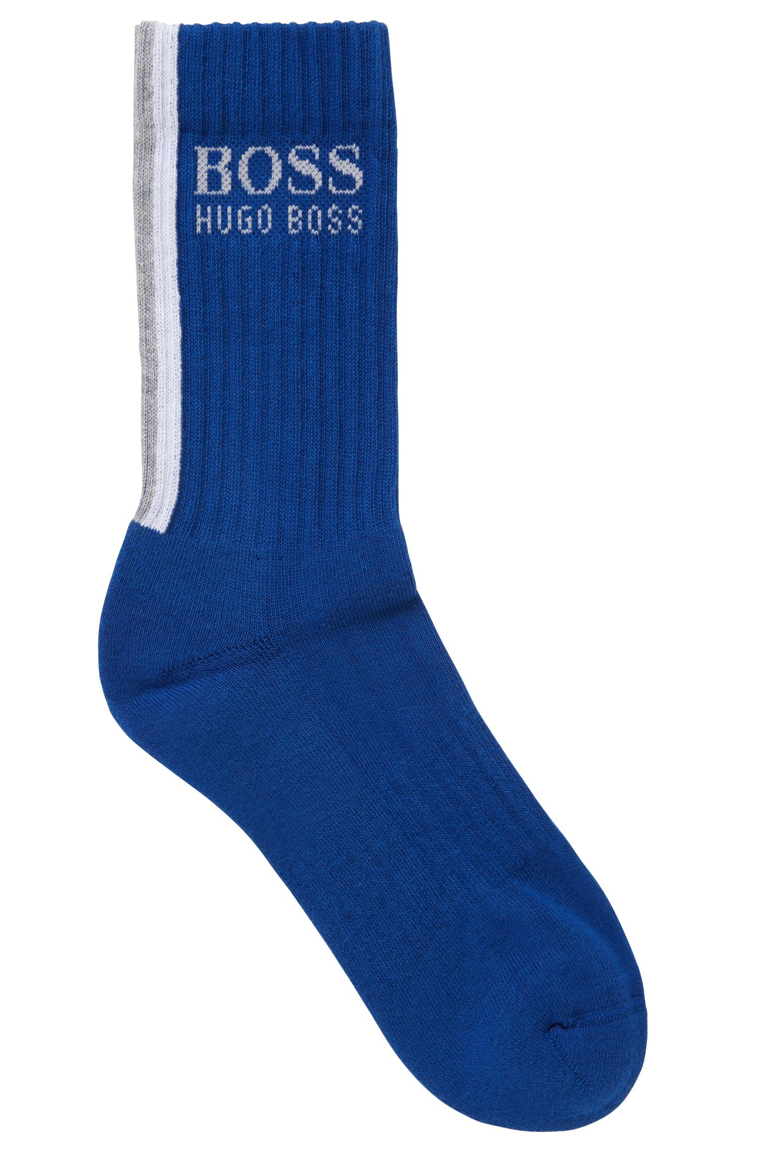Striped socks in a stretch cotton blend, Open Blue