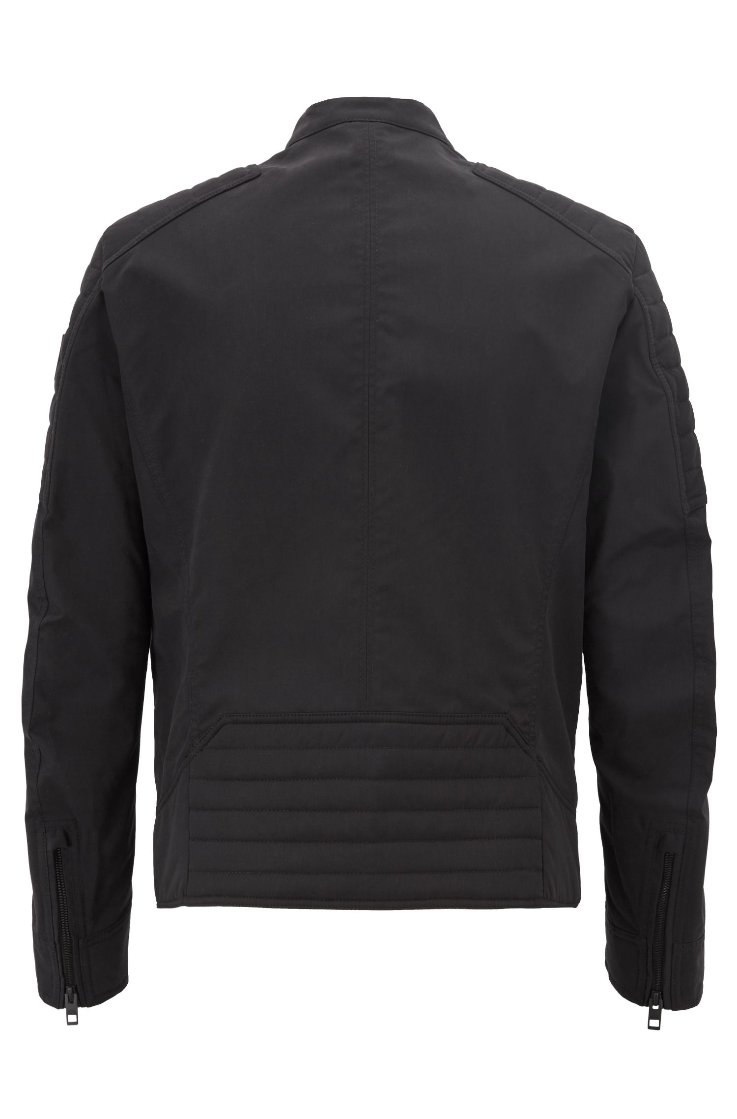 Regular-fit biker jacket in water-repellent peached fabric, Black