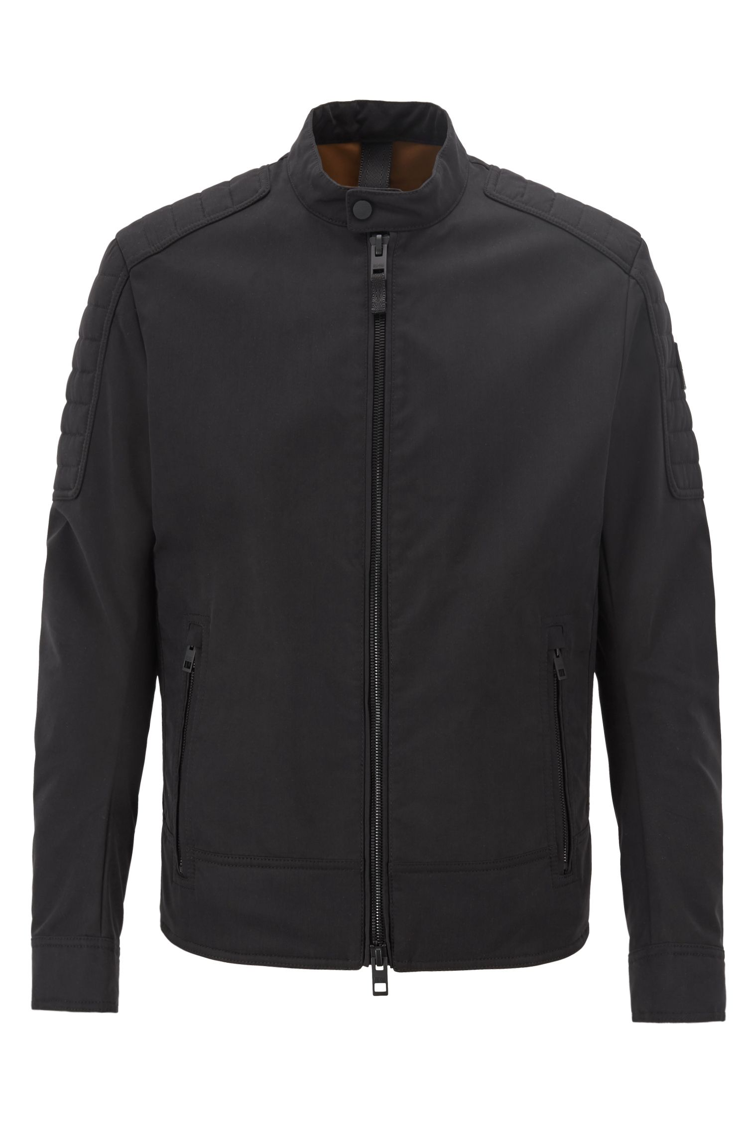 Regular-fit biker jacket in water-repellent peached fabric, Black