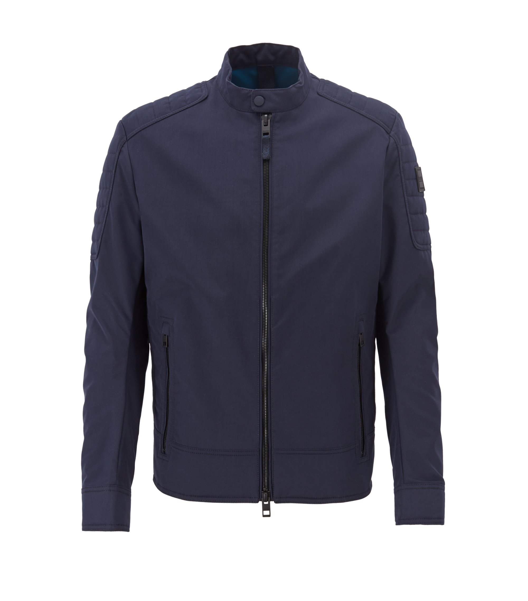 Regular-fit biker jacket in water-repellent peached fabric, Dark Blue