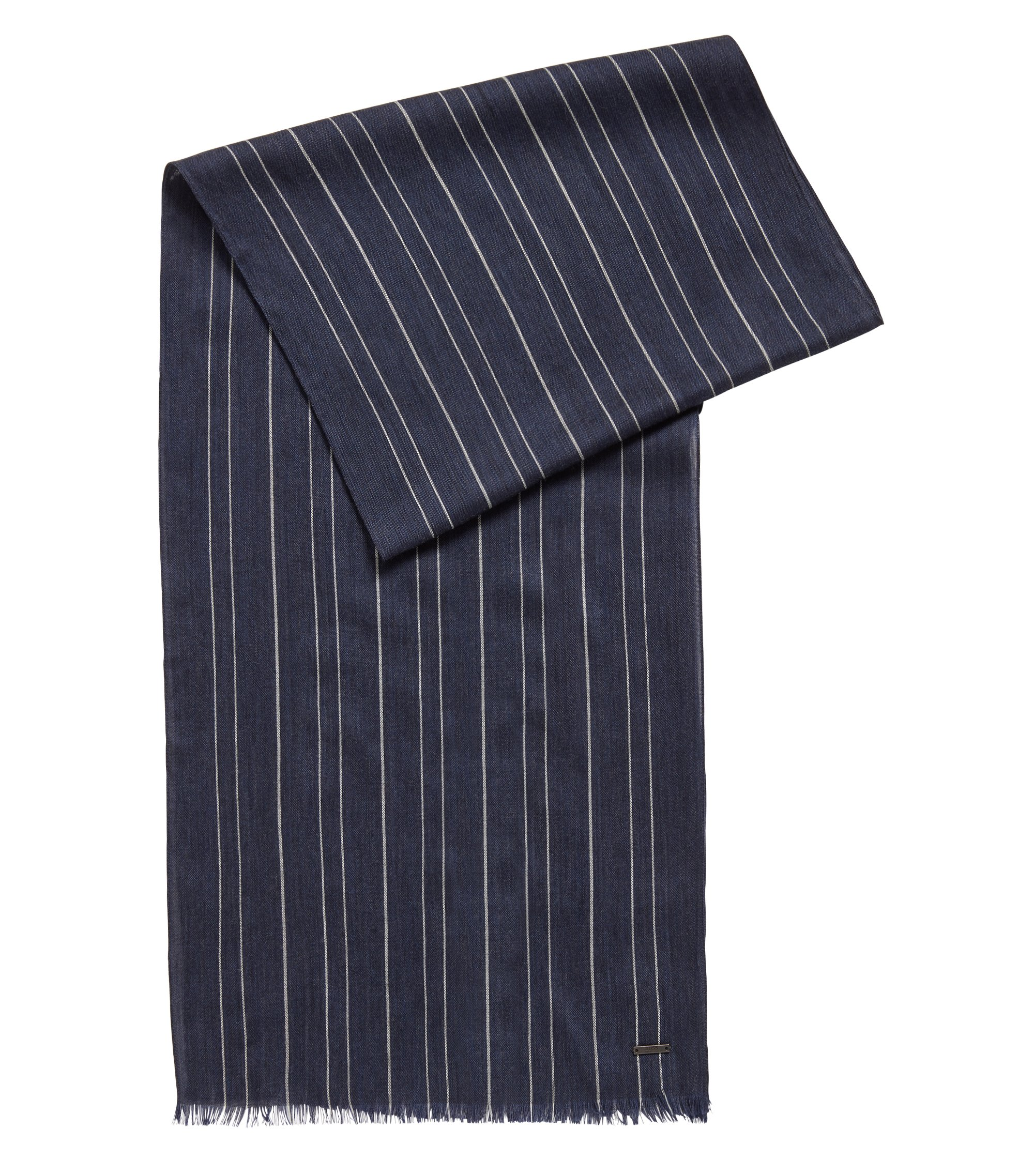 Pinstripe scarf in a lightweight wool blend, Open Blue