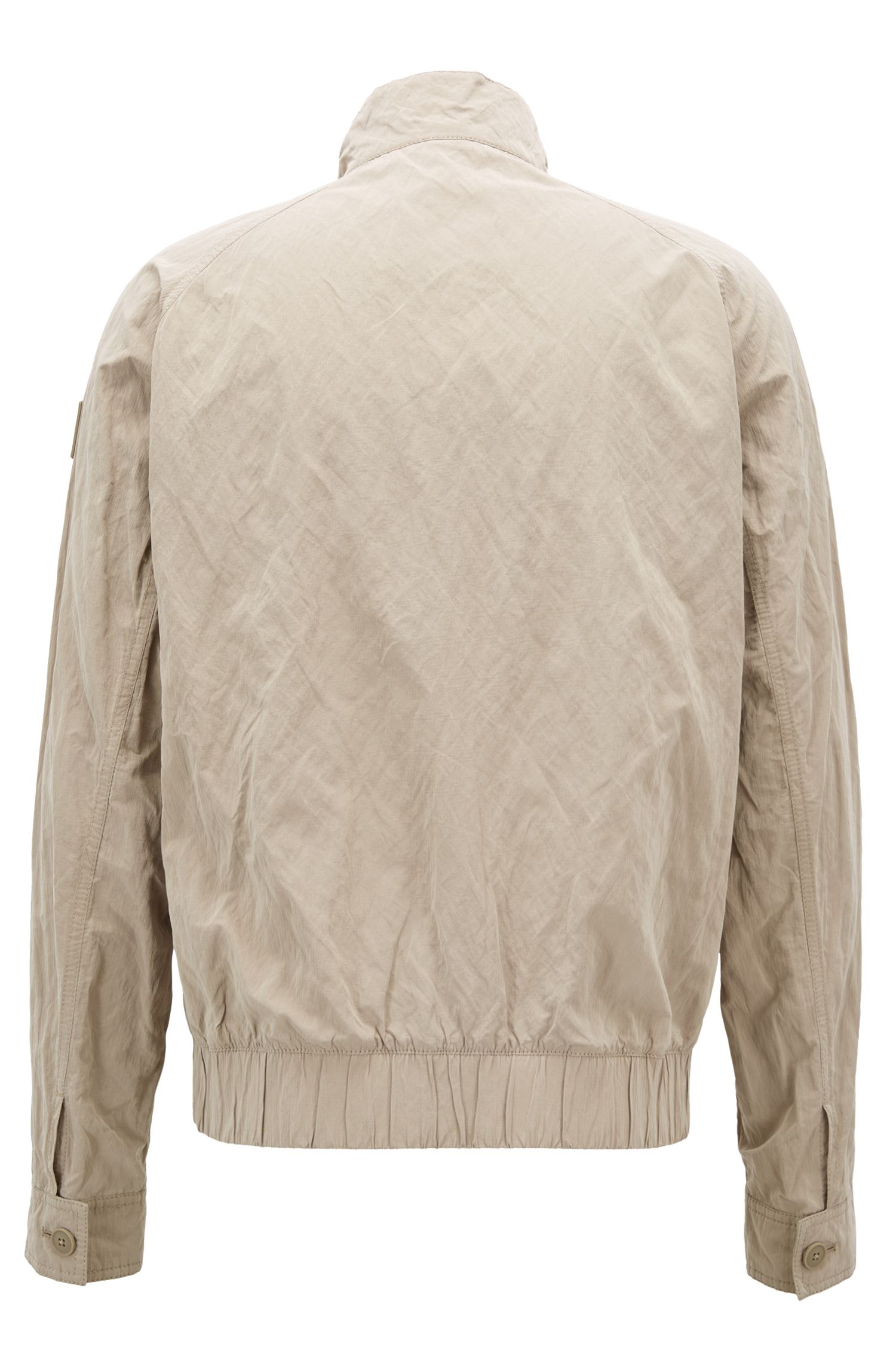Regular-fit jacket in water-repellent metallic fabric, Beige