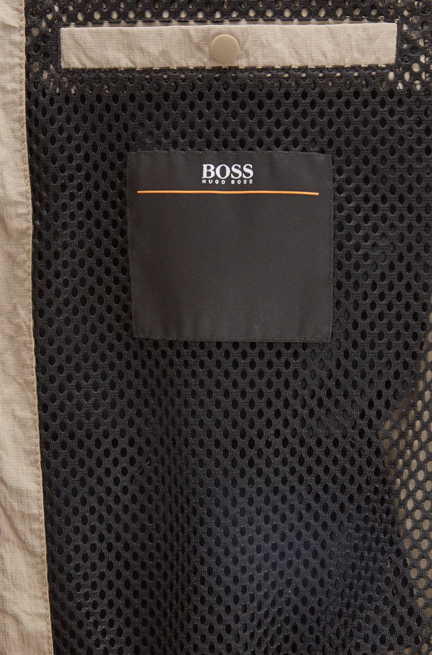 Regular-fit jacket in water-repellent metallic fabric, Beige