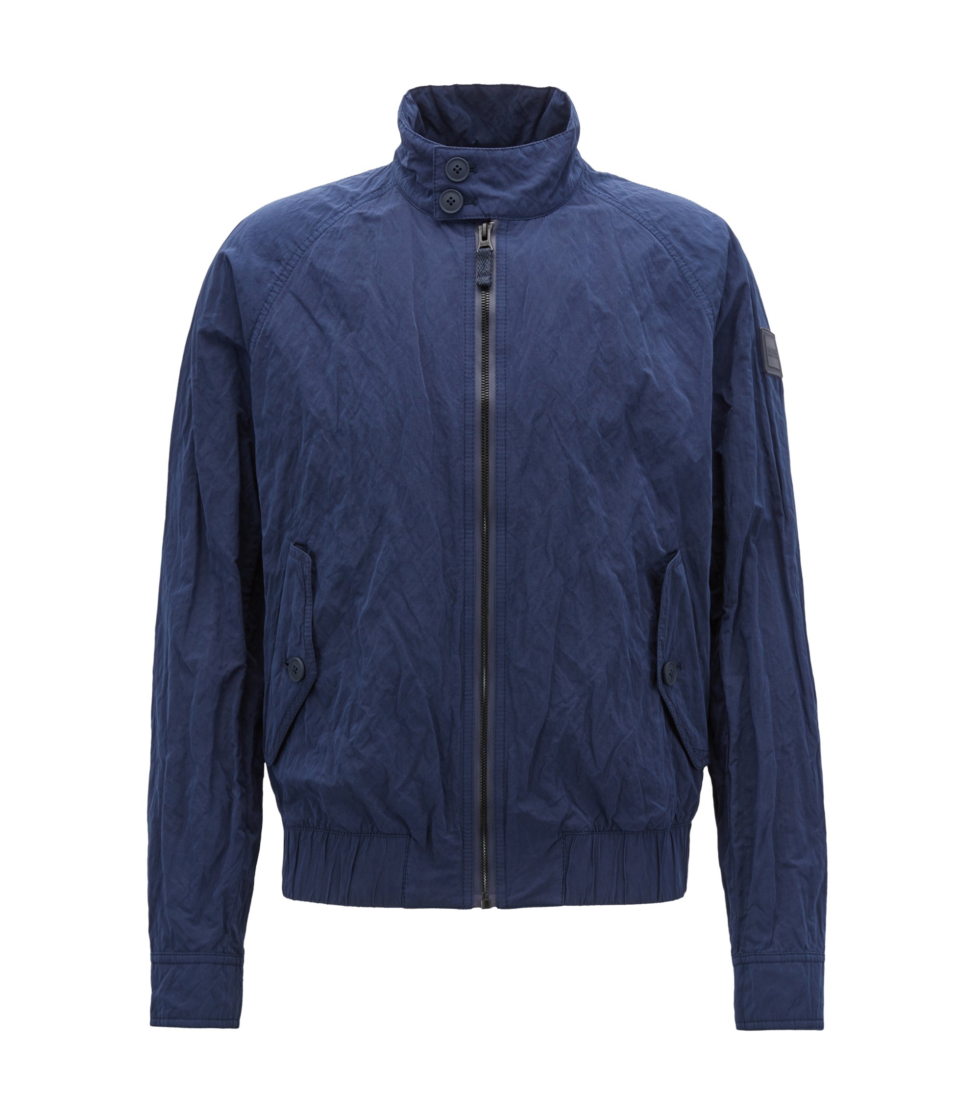 Regular-fit jacket in water-repellent metallic fabric, Dark Blue