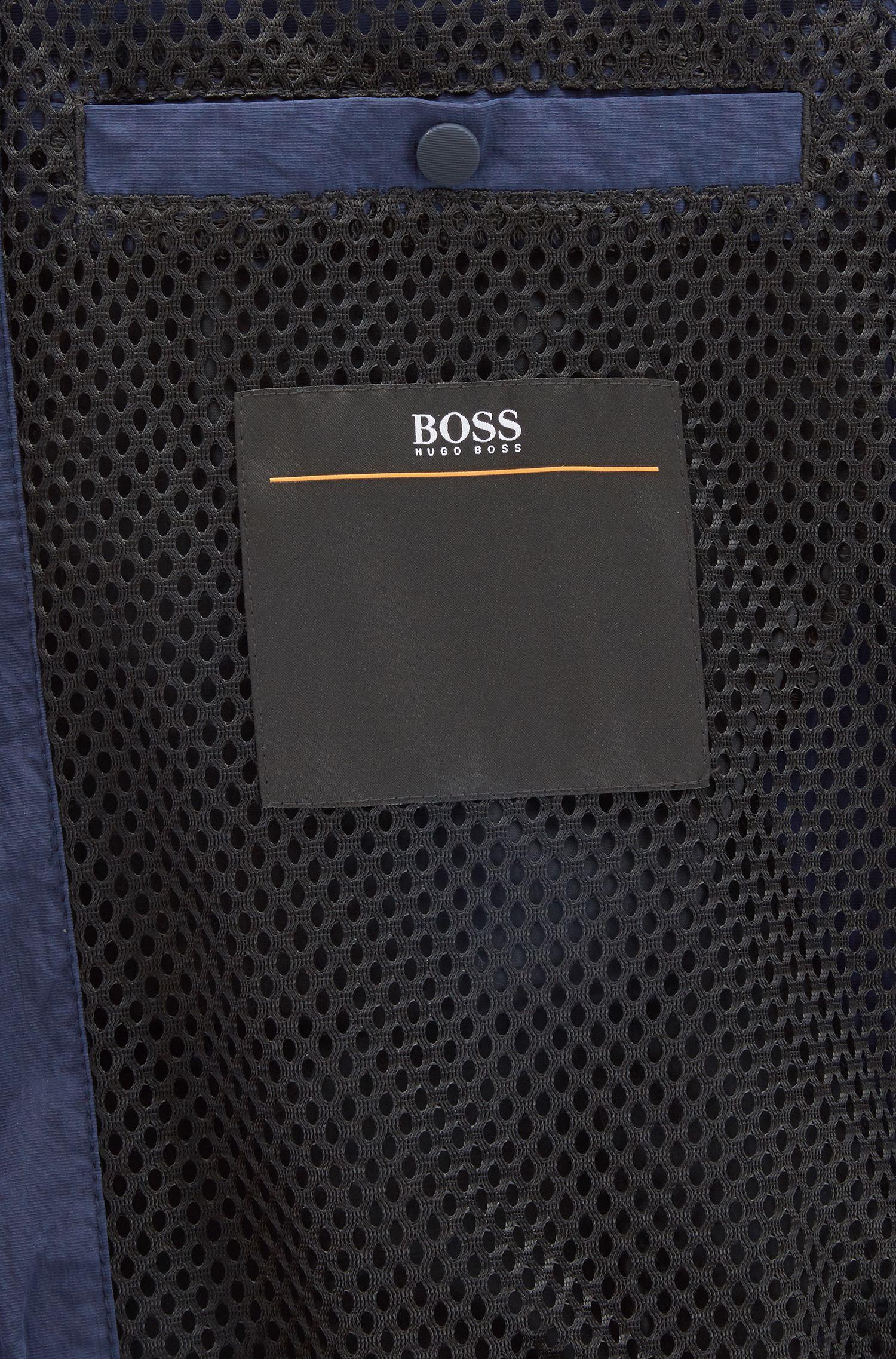 Giacca regular fit in tessuto metallizzato idrorepellente, Blu scuro