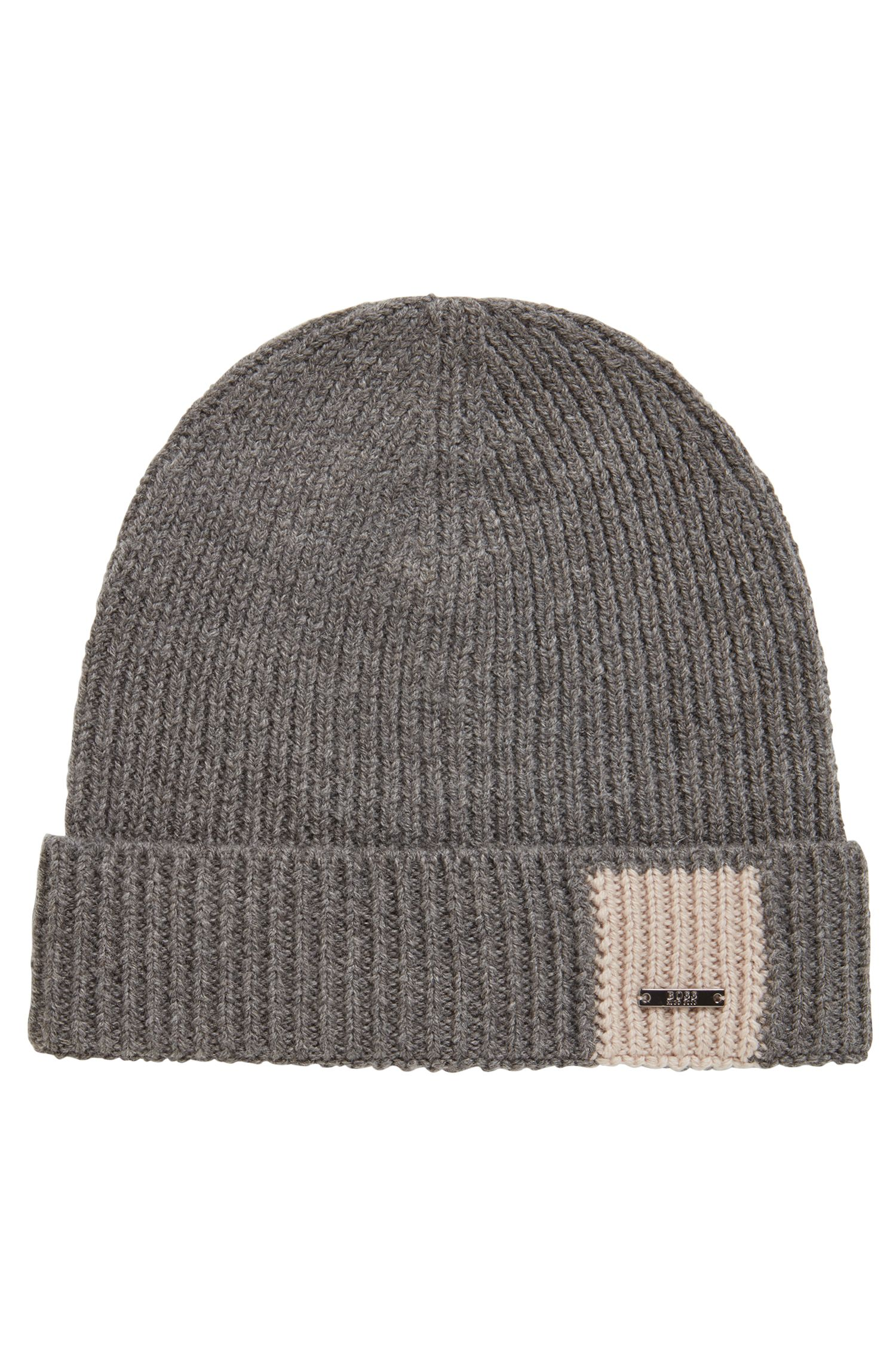 Knitted beanie hat in virgin wool with turnback hem, Grey