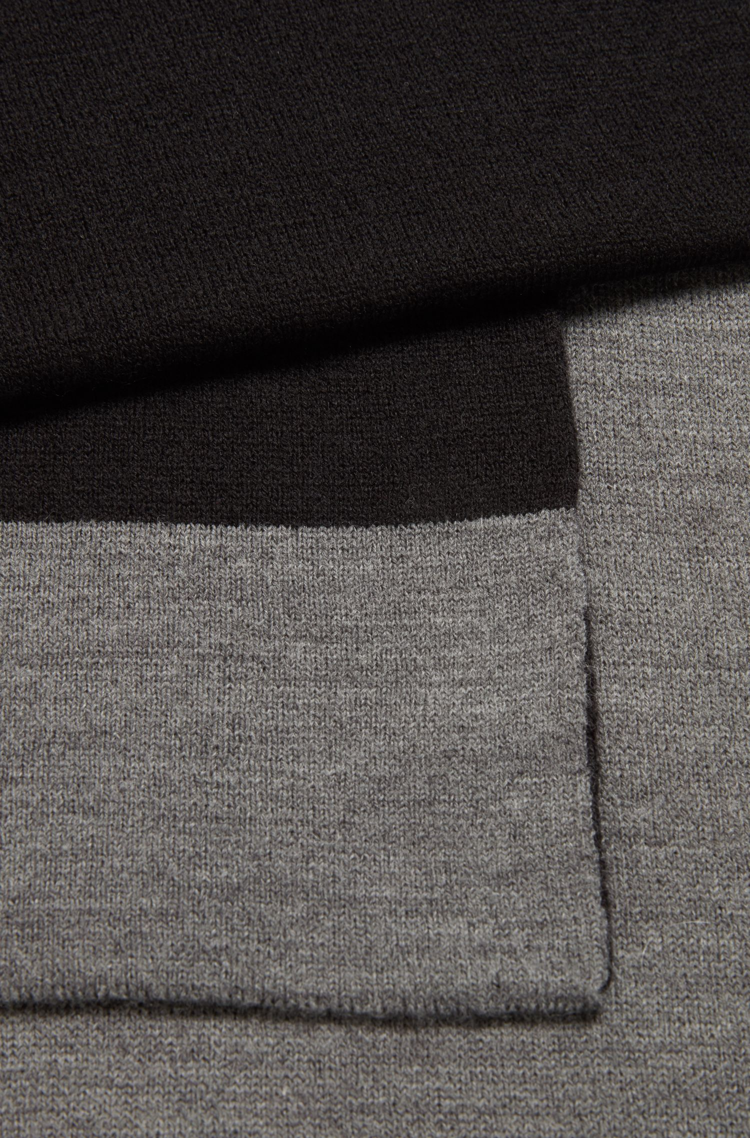 Ribbed scarf with contrast jacquard logo, Grey