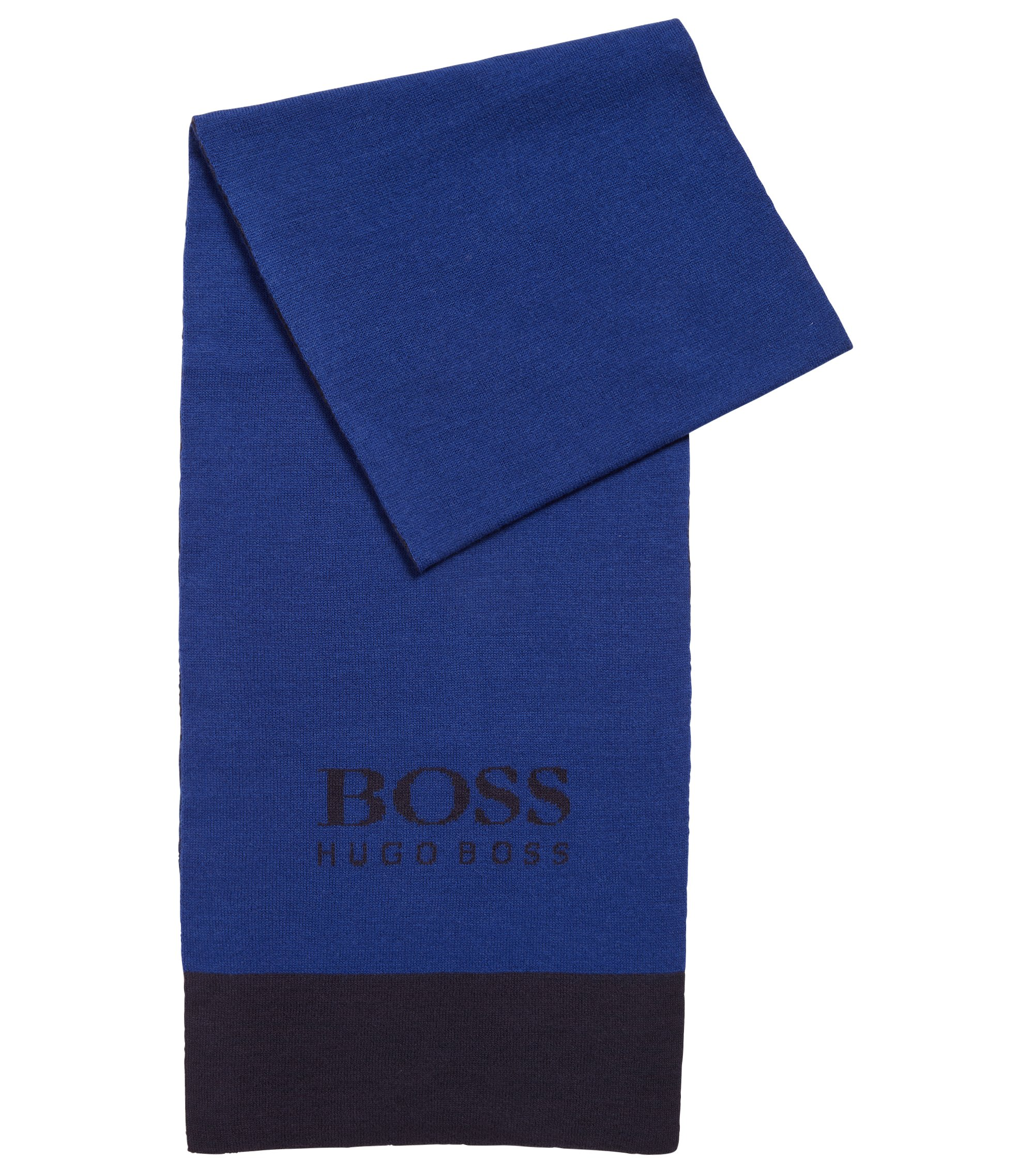 Ribbed scarf with contrast jacquard logo, Blue