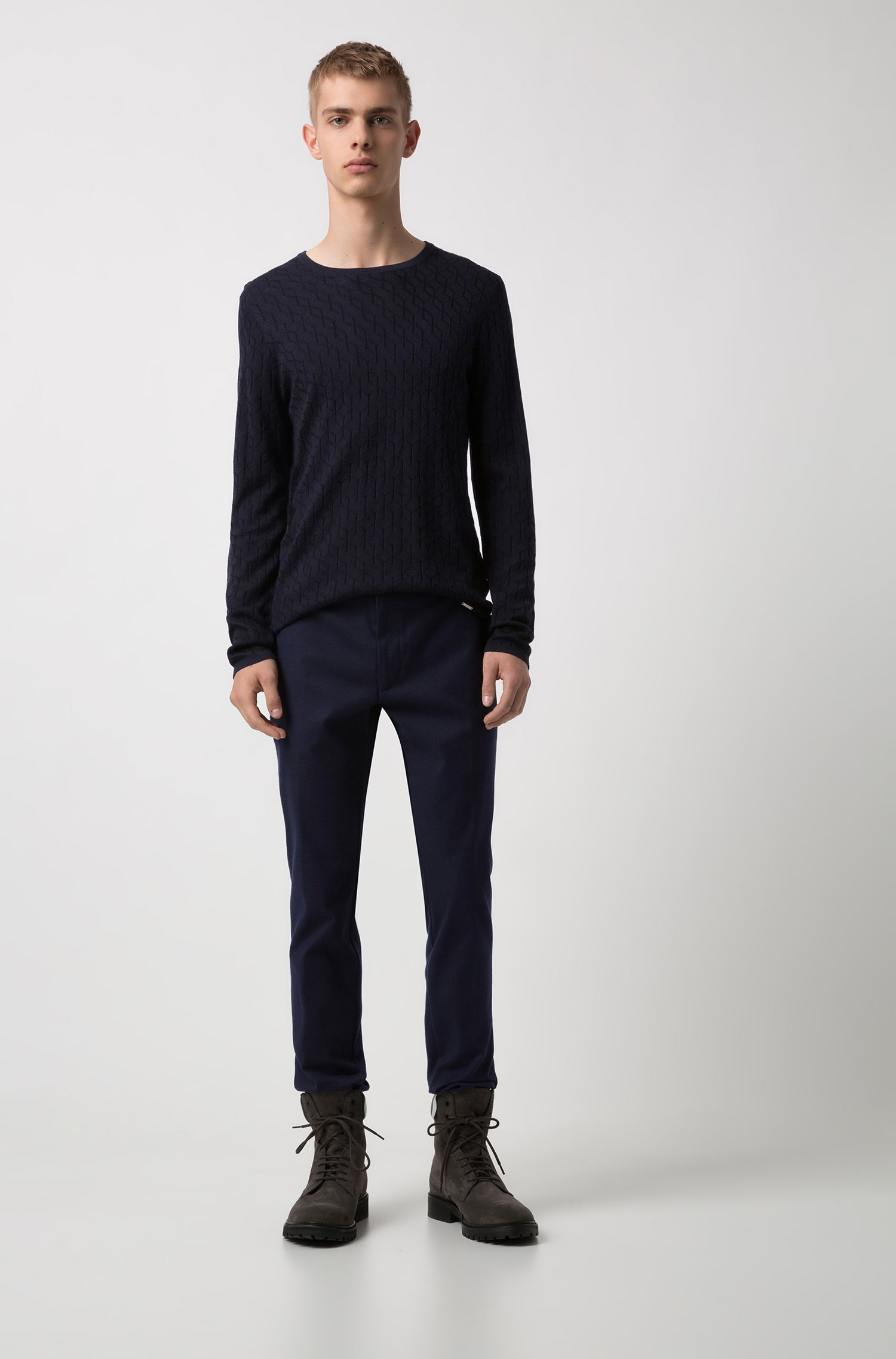Extra-slim-fit virgin-wool trousers with textured structure, Dark Blue