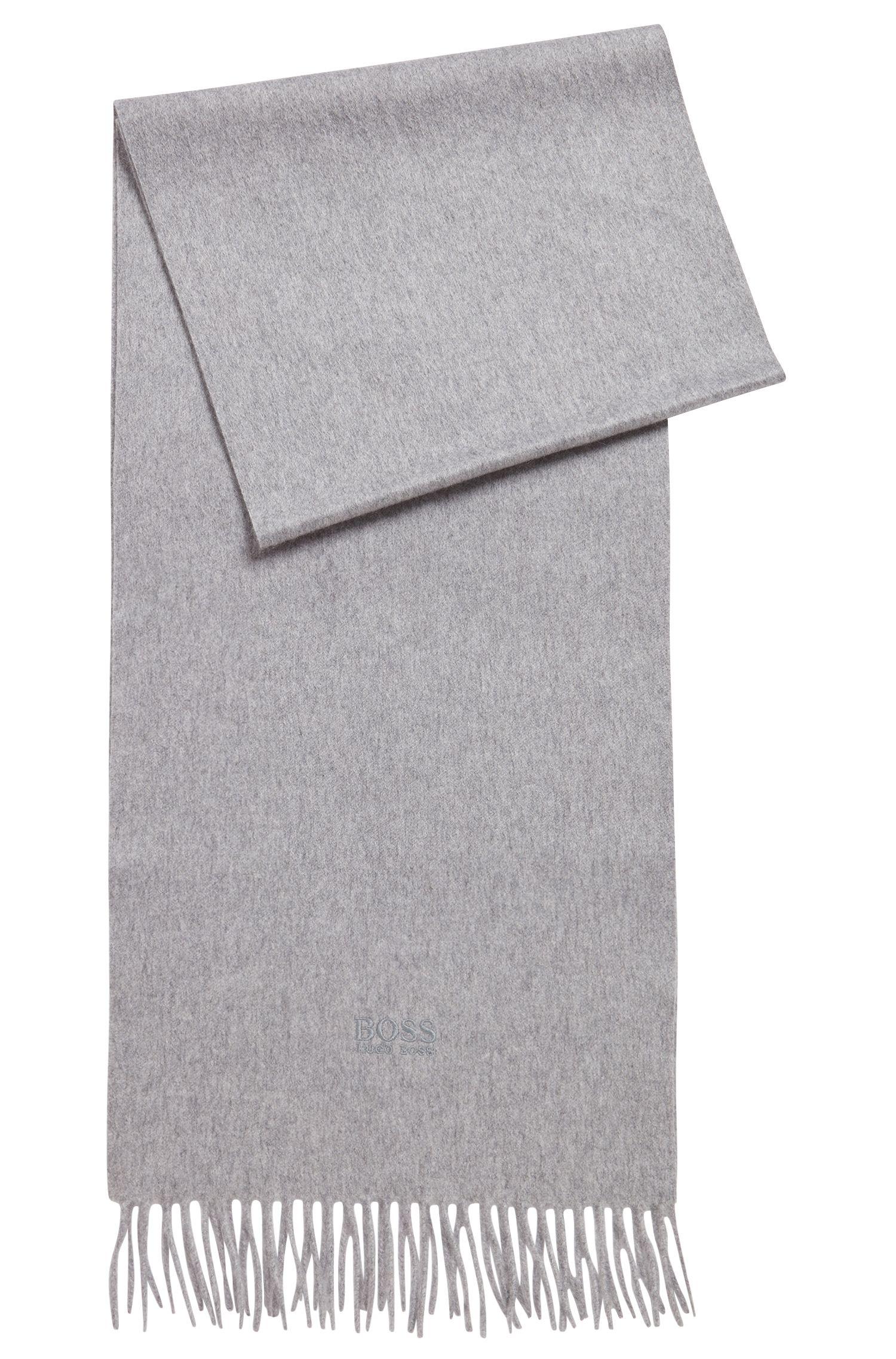 Tailored Italian-made scarf in cashmere with fringed hem, Grey