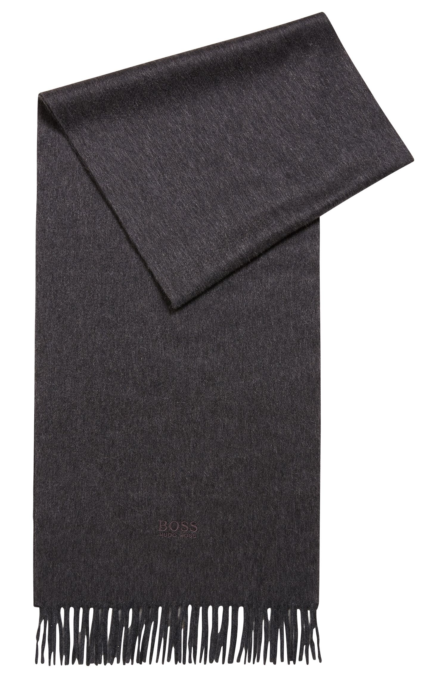 Tailored Italian-made scarf in cashmere with fringed hem, Dark Grey