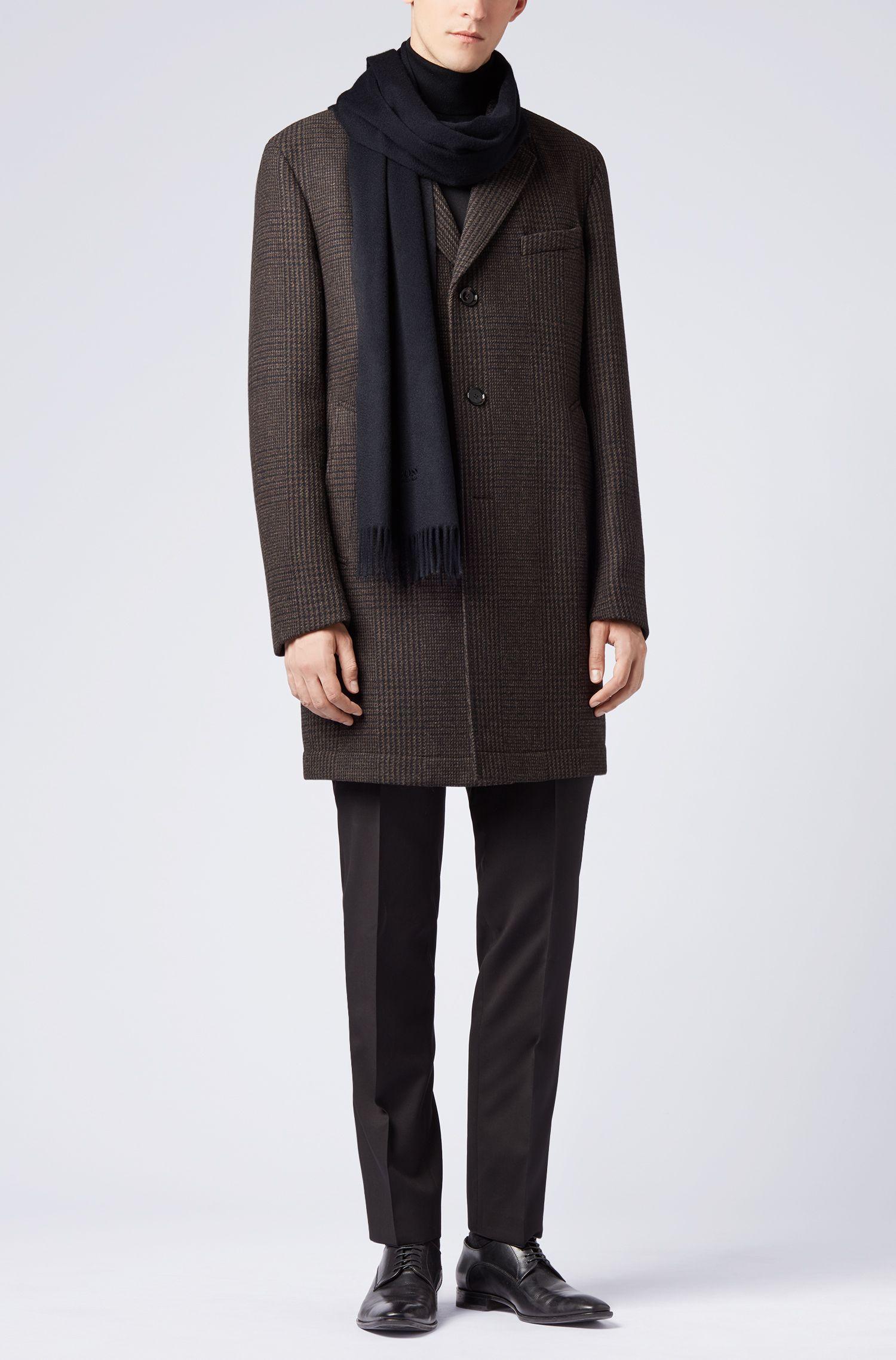 Tailored Schal aus italienischem Kaschmir mit Fransen, Dunkelblau