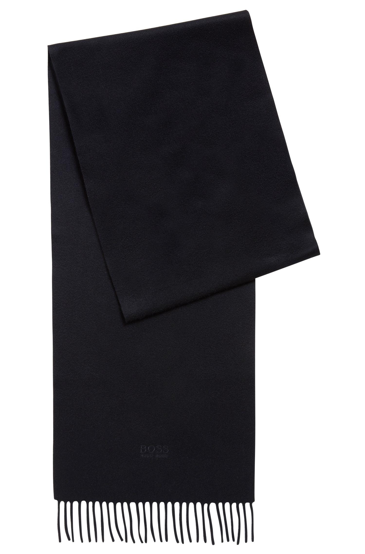 Bufanda de sastrería con flecos fabricada en cashmere en Italia, Azul oscuro