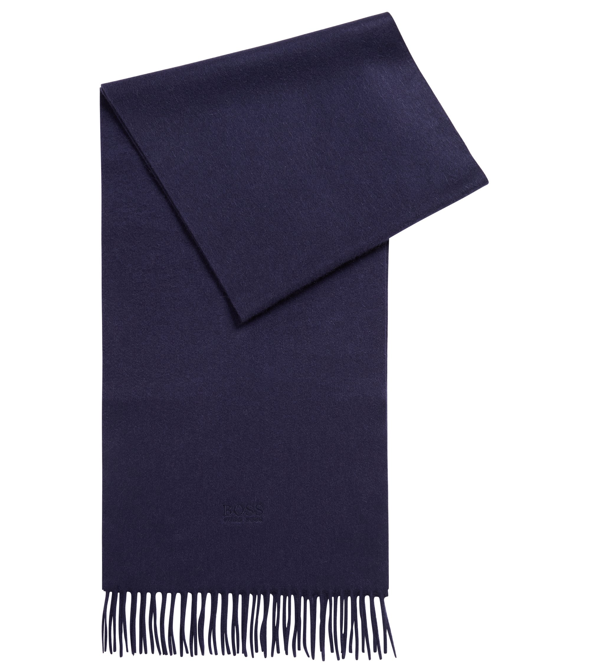 Tailored Italian-made scarf in cashmere with fringed hem, Dark Blue