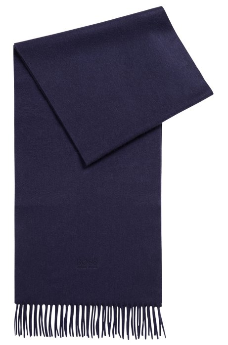 Écharpe Tailored en cachemire aux finitions frangées, confectionnée en Italie, Bleu foncé