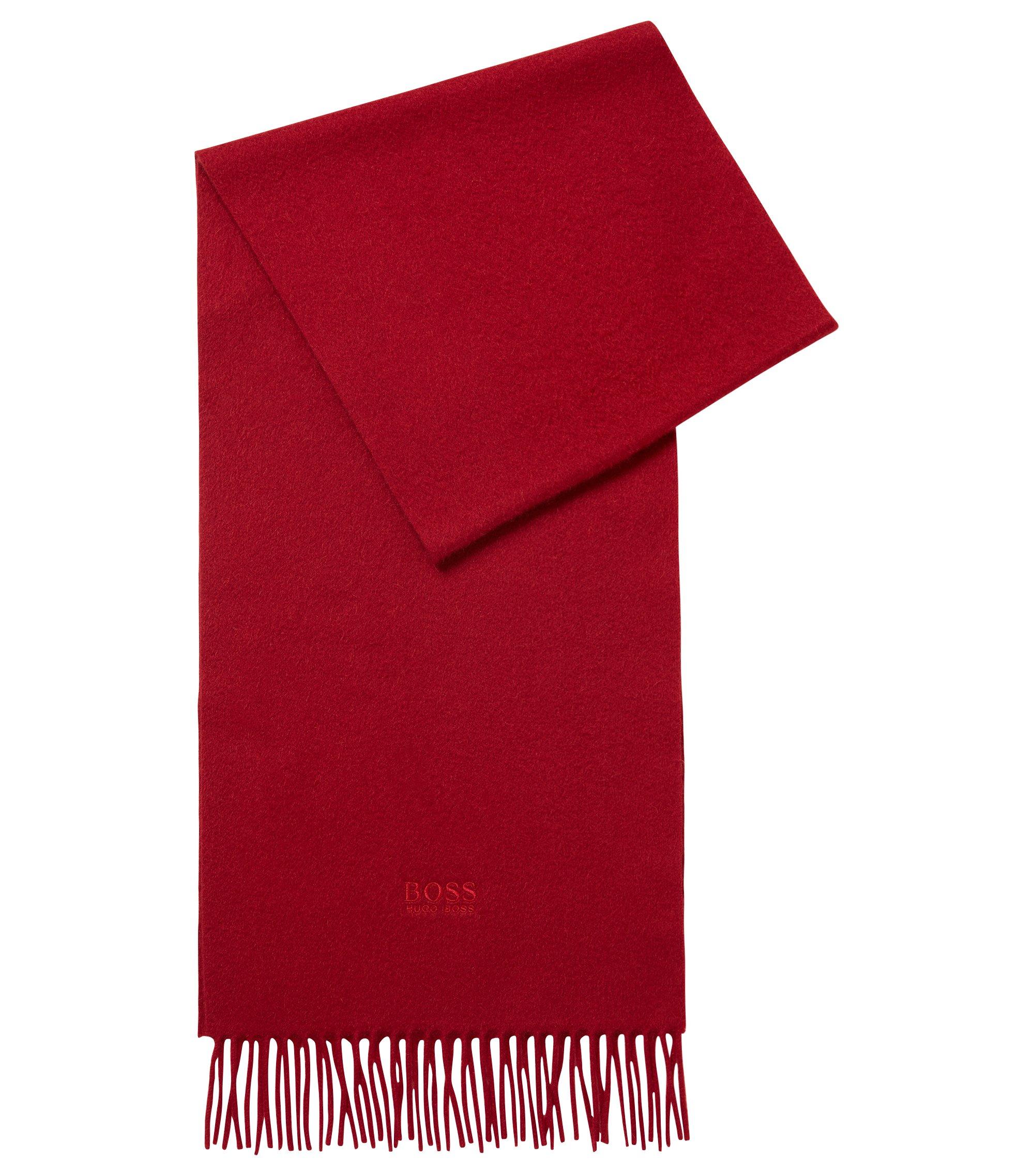 Écharpe Tailored en cachemire aux finitions frangées, confectionnée en Italie, Rouge sombre