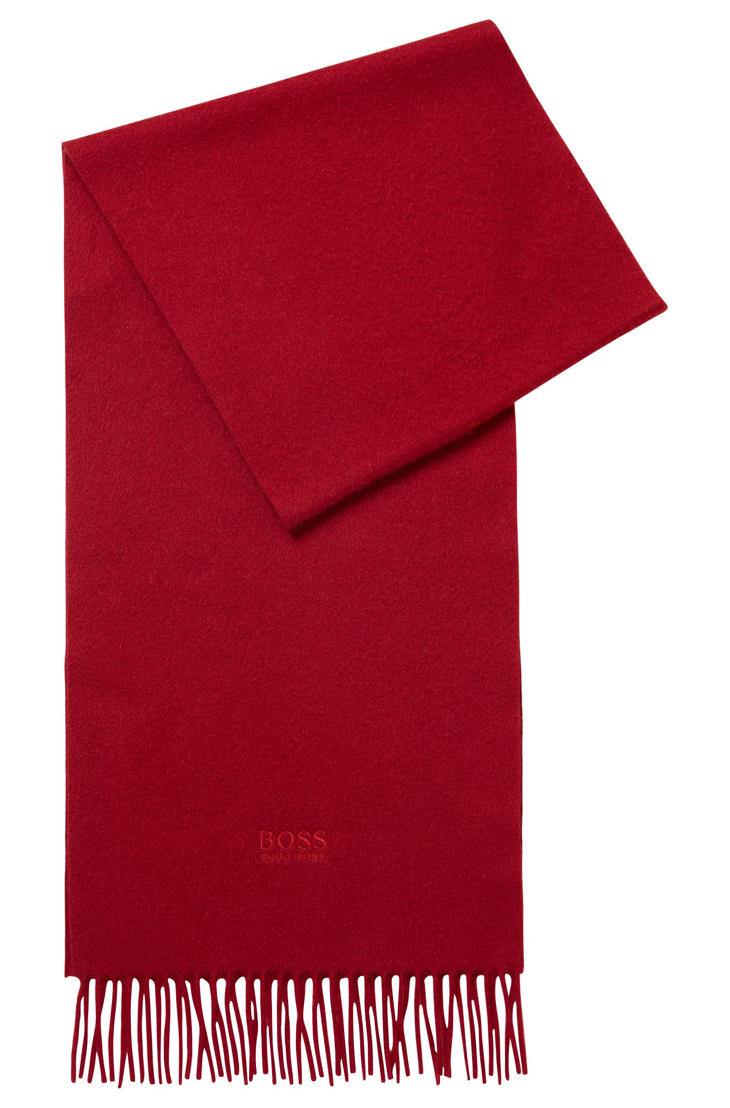 Tailored Italian-made scarf in cashmere with fringed hem, Dark Red