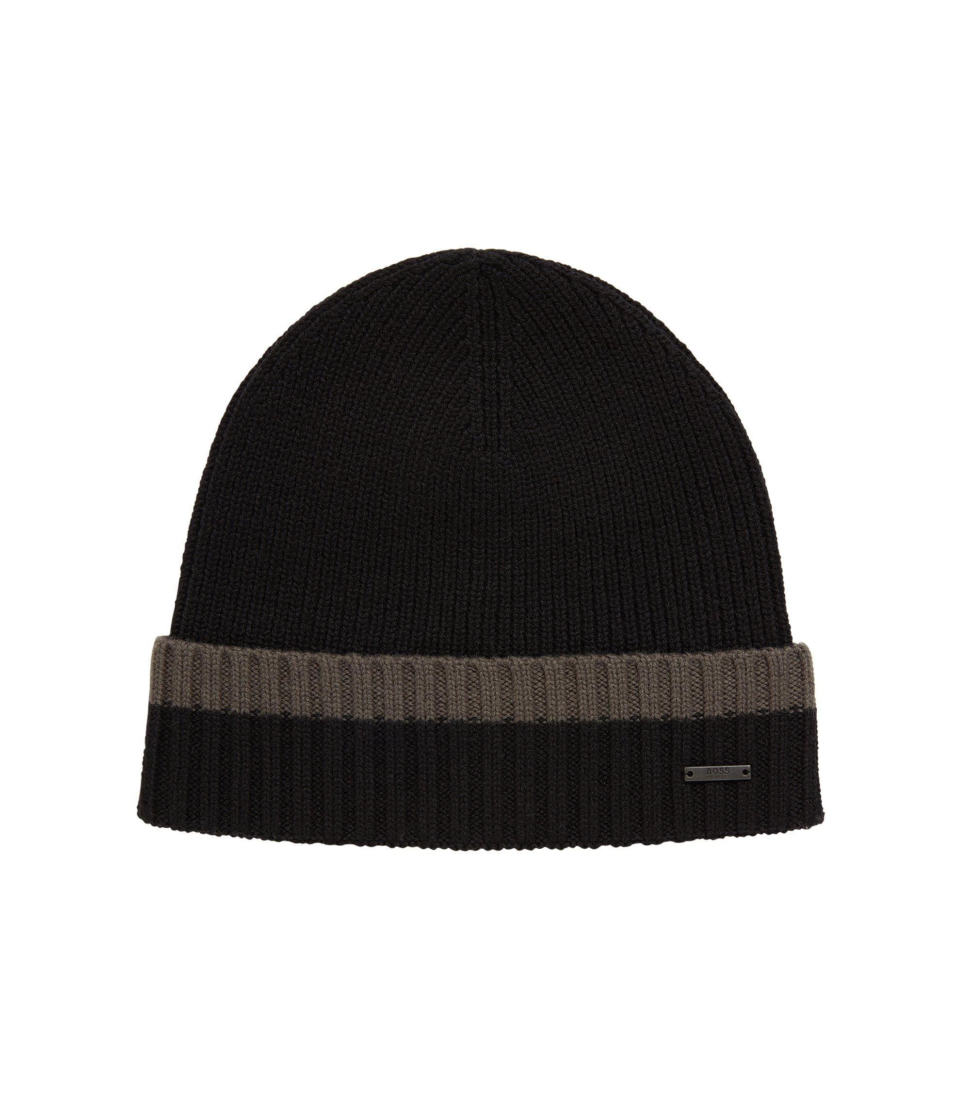 Beanie hat in virgin wool with contrast turn-up, Dark Green