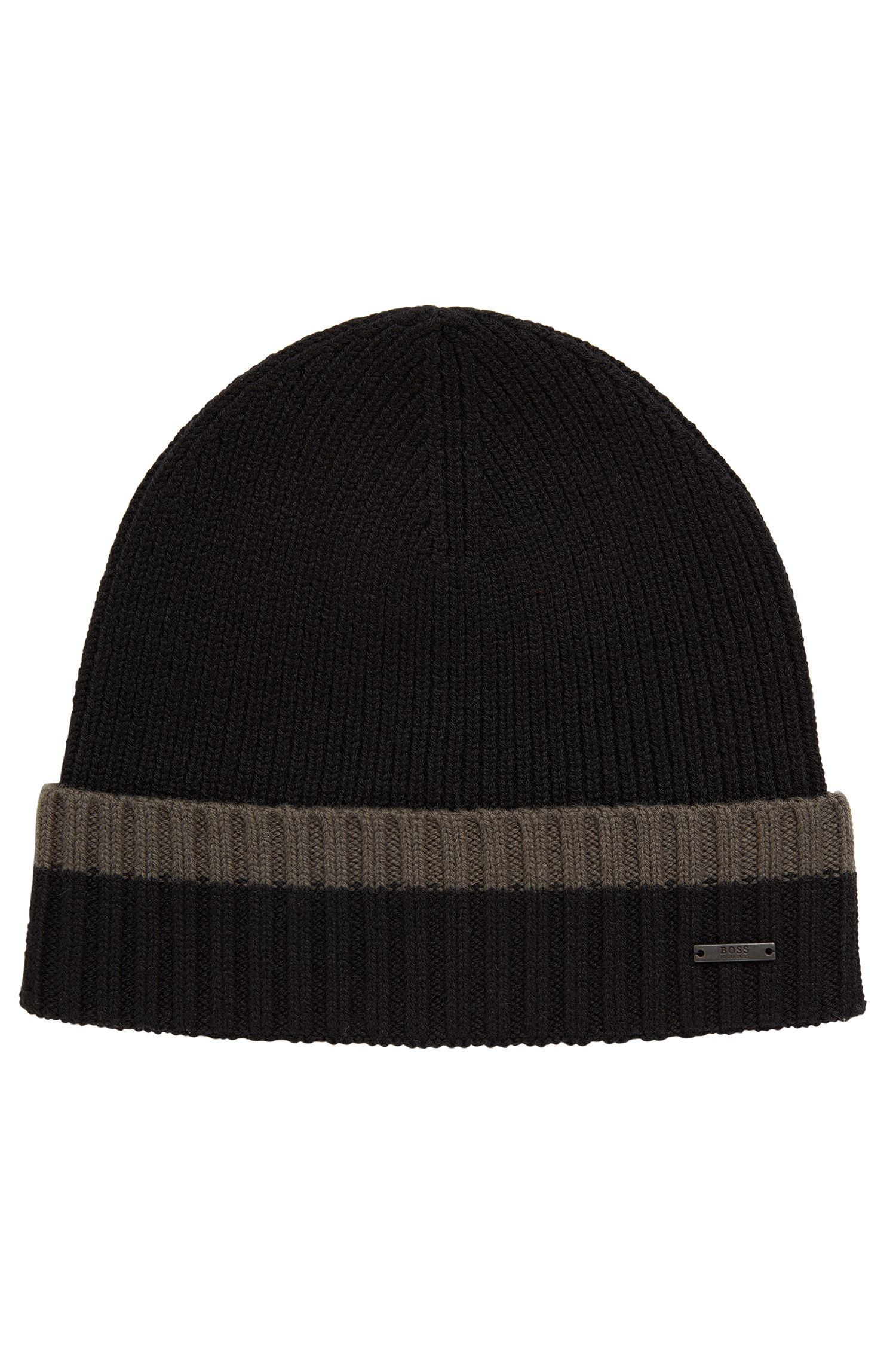 Beanie hat in virgin wool with contrast turn-up