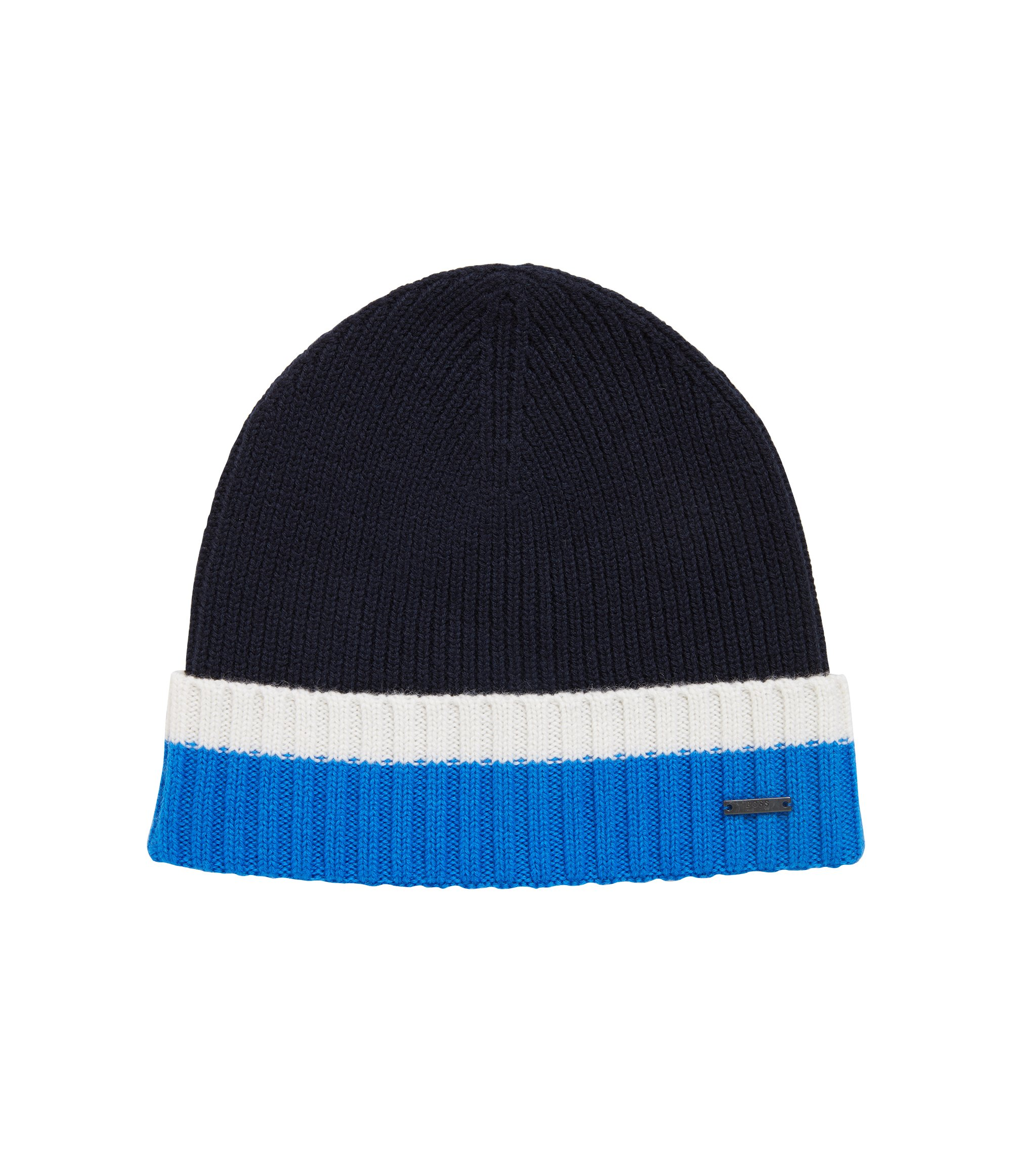 Beanie hat in virgin wool with contrast turn-up, Blue