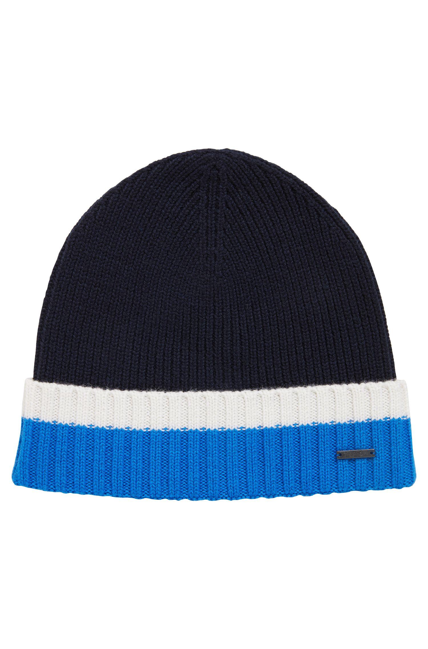 Mütze aus Schurwolle mit kontrastfarbenem Saum, Blau