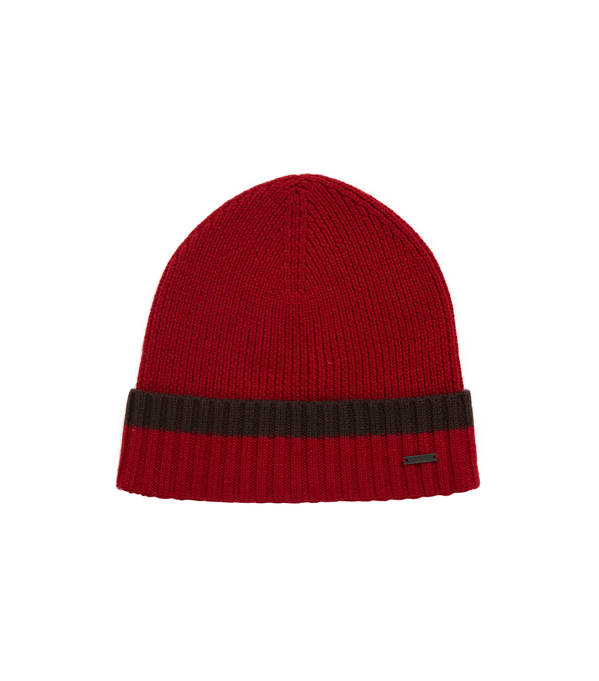 Beanie hat in virgin wool with contrast turn-up, Dark Red