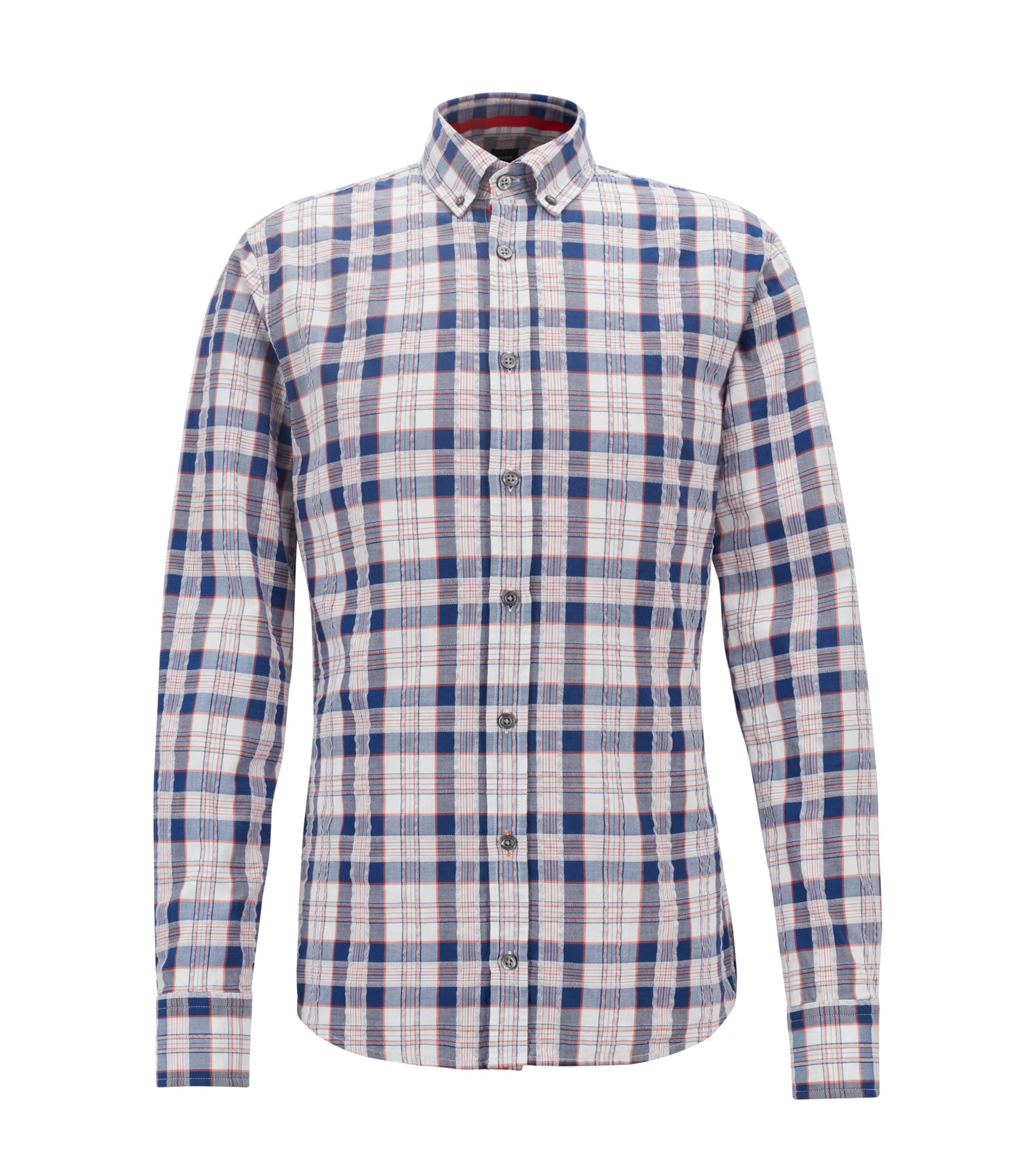 Camicia slim fit a quadri in twill di cotone seersucker, Blu