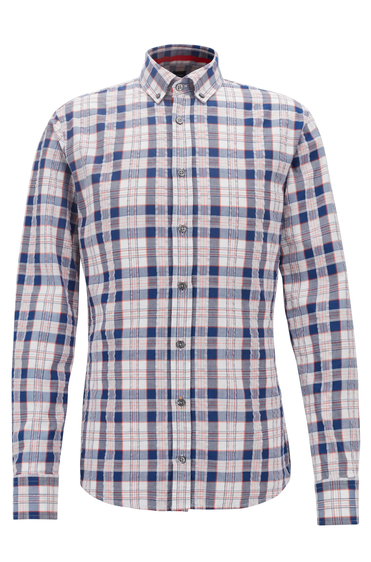 Chemise Slim Fit en twill de coton seersucker à carreaux, Bleu