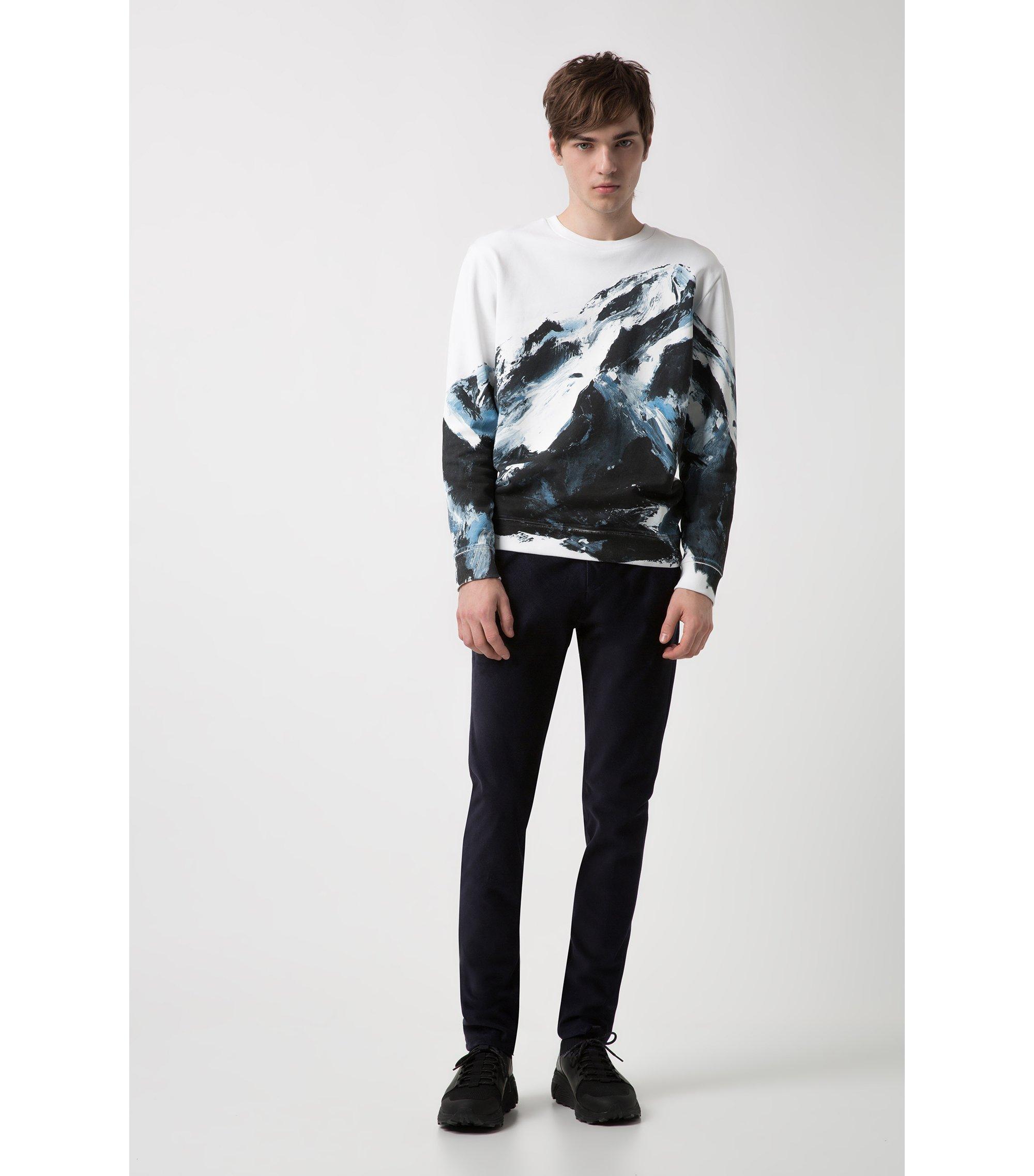 Pantalon Slim Fit en velours côtelé à rayures diagonales, Bleu foncé