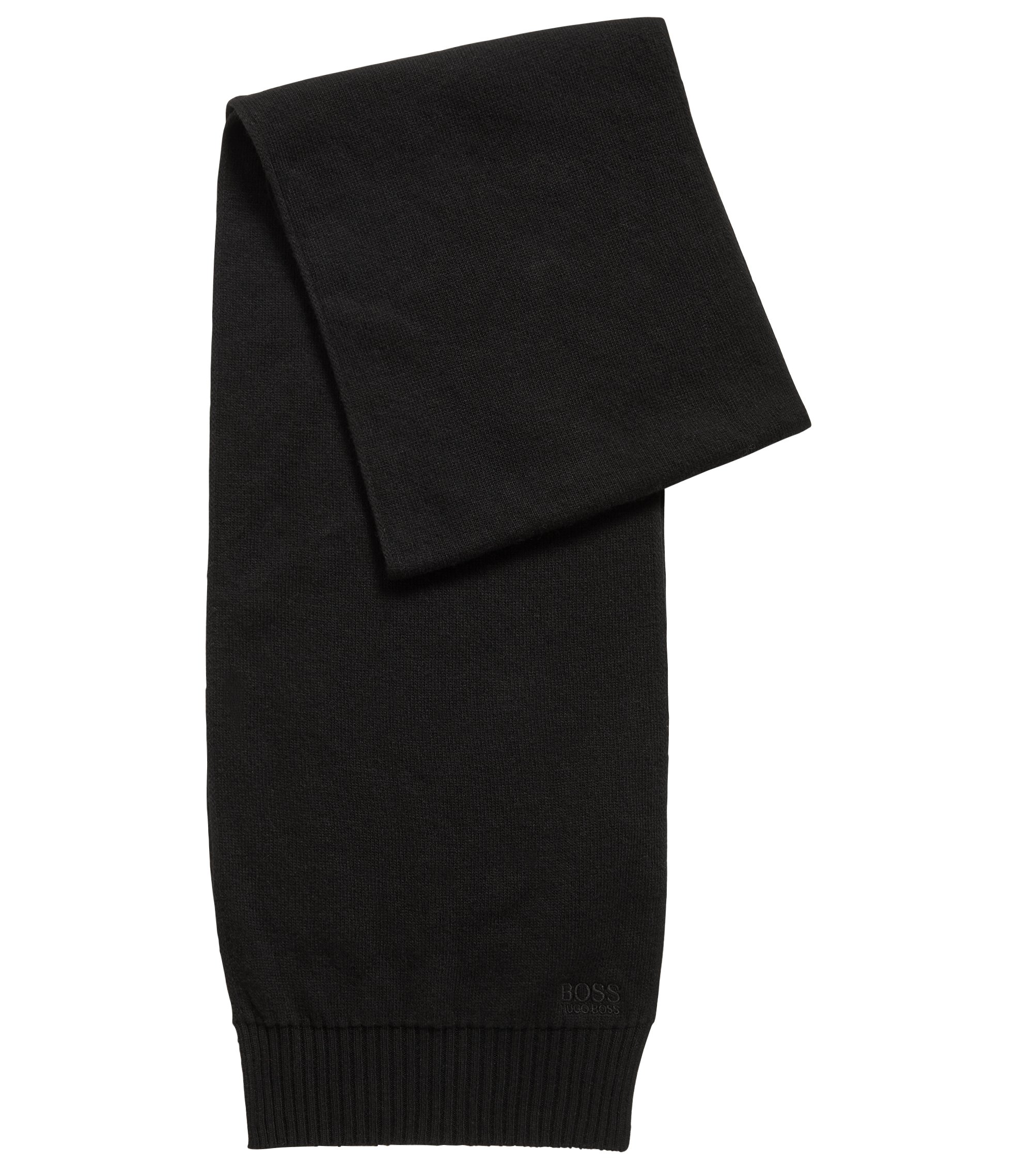 Knitted scarf with tonal logo detailing, Black