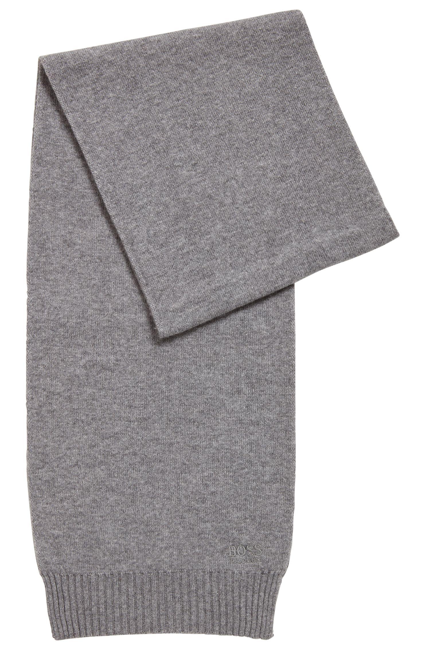 Gebreide sjaal met ton-sur-ton logo, Grijs