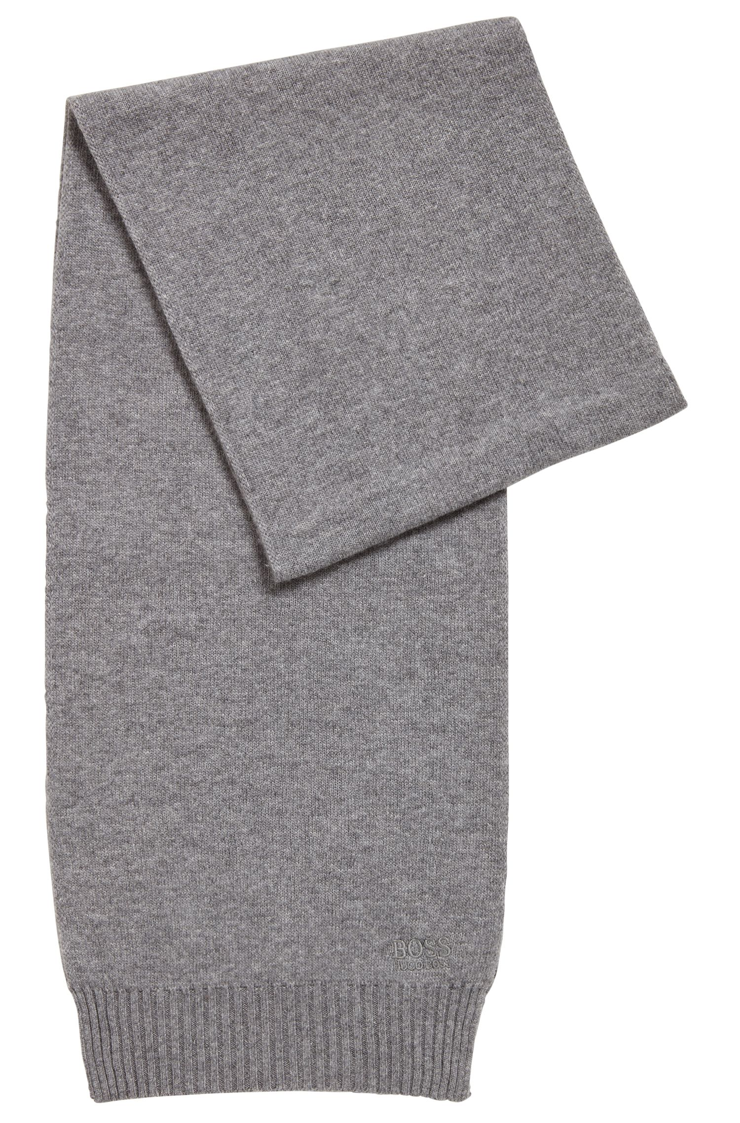 Knitted scarf with tonal logo detailing, Grey