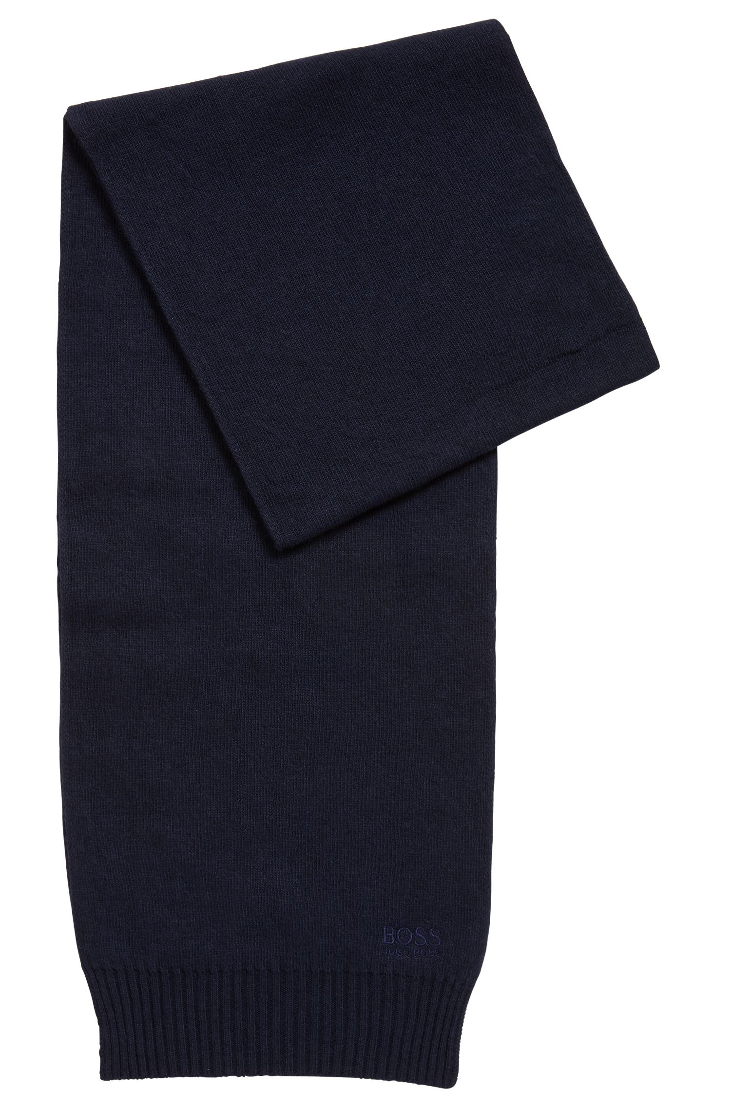 Knitted scarf with tonal logo detailing, Dark Blue