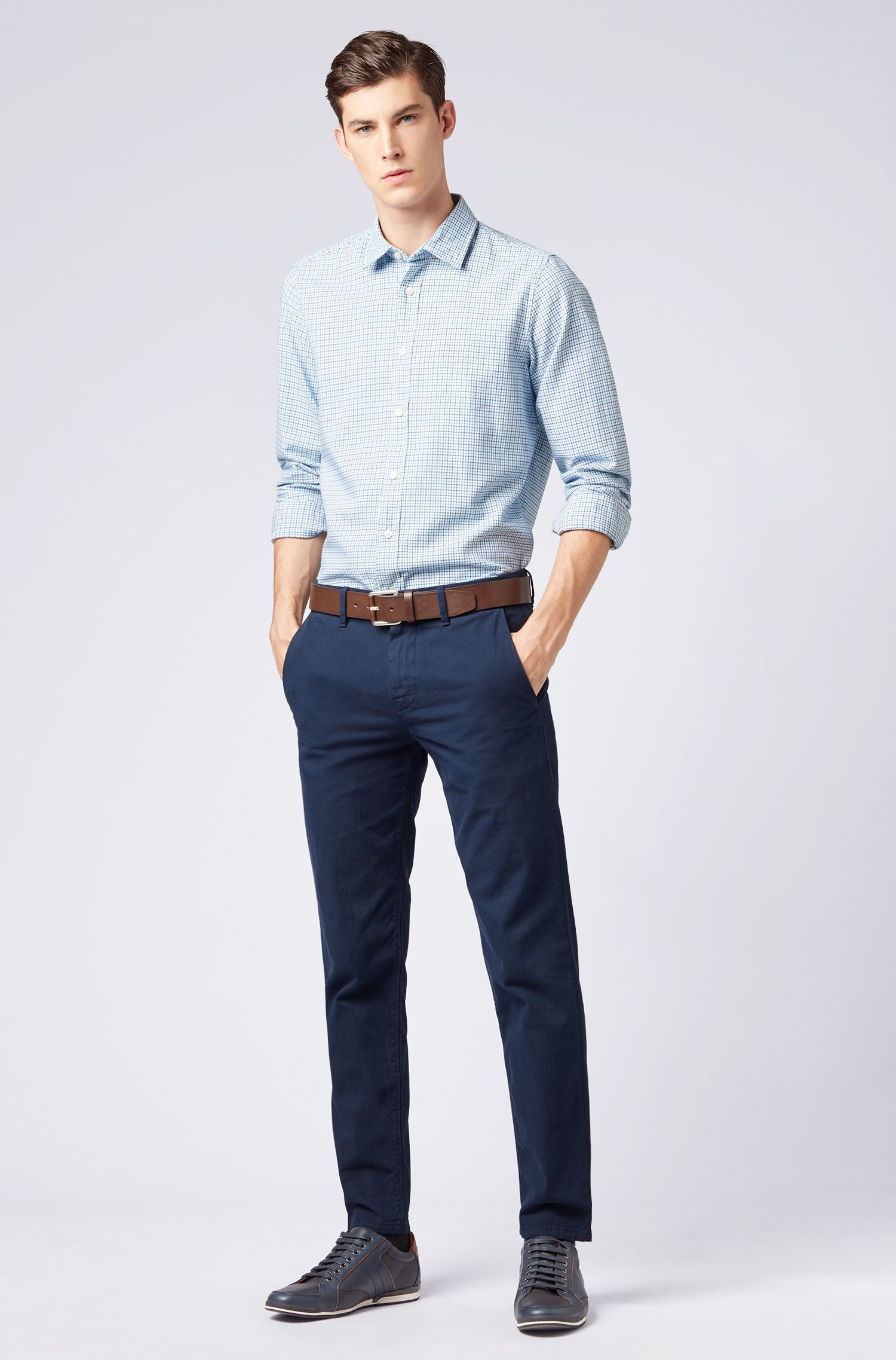Regular-fit shirt in Vichy-checked Oxford cotton, Light Blue