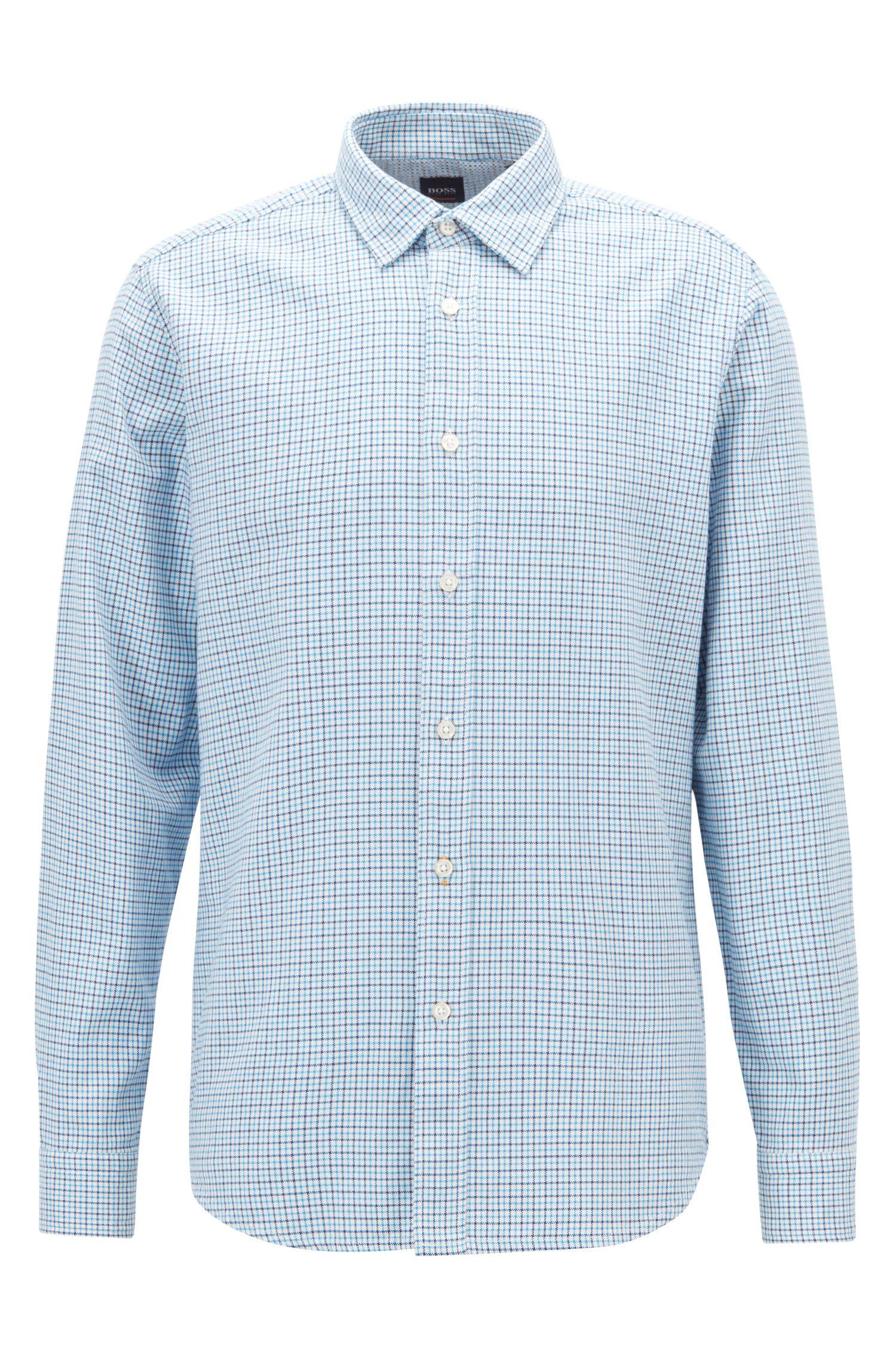 Camisa regular fit en algodón Oxford a cuadros Vichy, Celeste