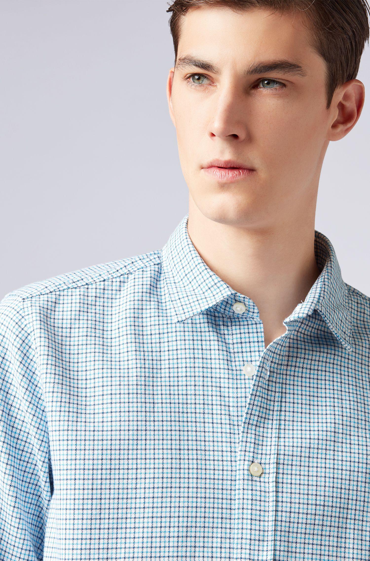 Regular-Fit Hemd aus Oxford-Baumwolle mit Vichy-Karo, Hellblau