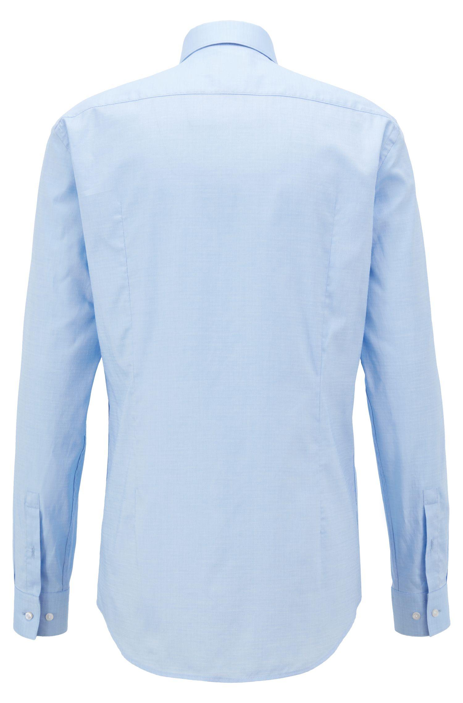 Camisa slim fit en algodón dobby estampado, Celeste