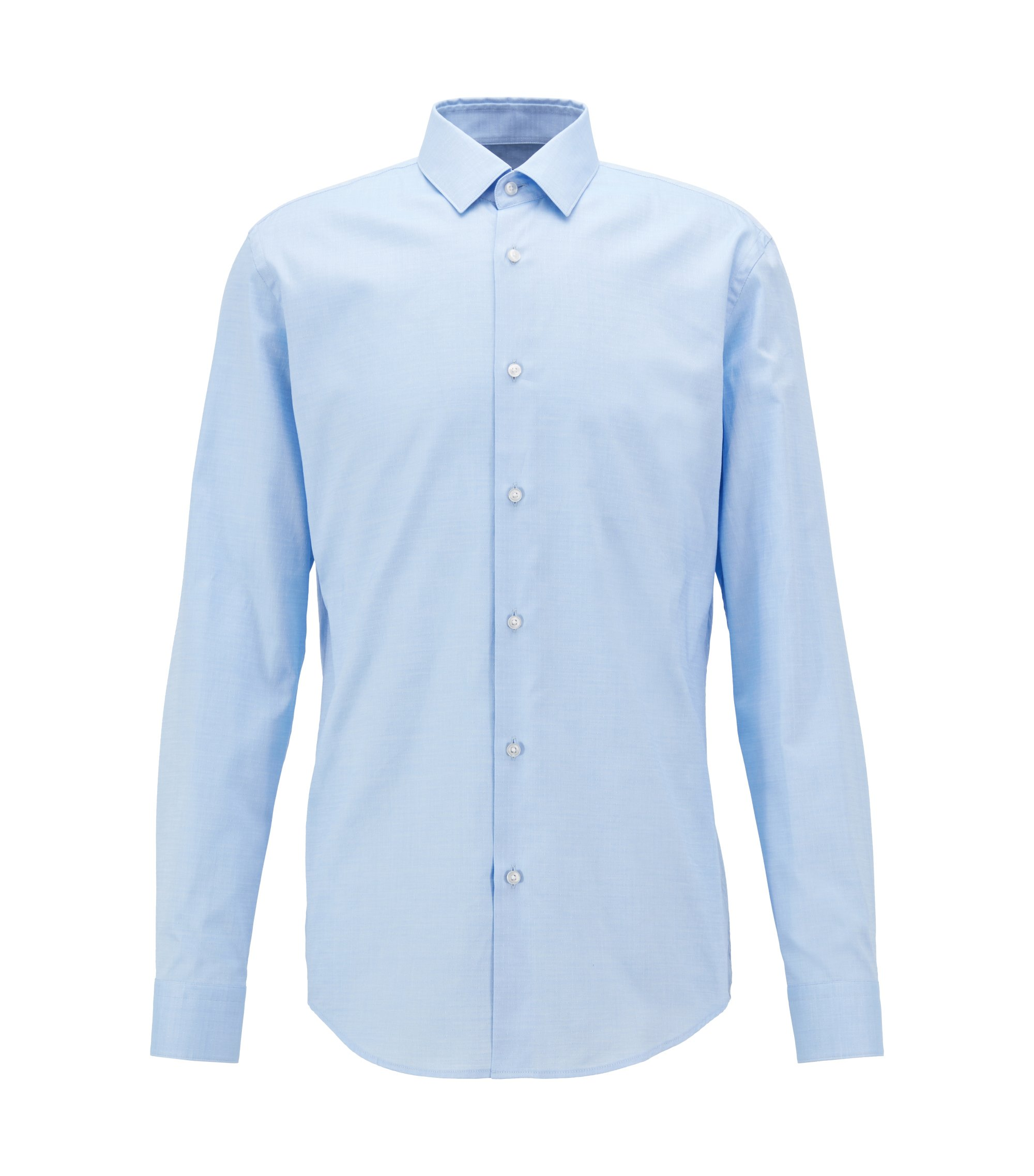Slim-fit shirt in patterned dobby cotton, Light Blue