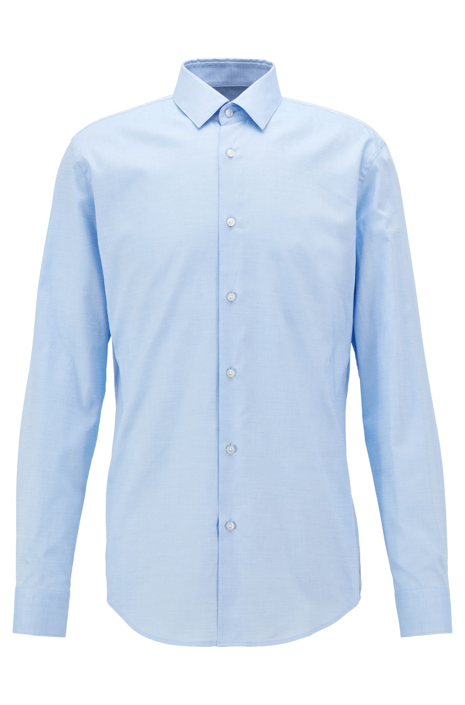 Slim-fit shirt in patterned dobby cotton