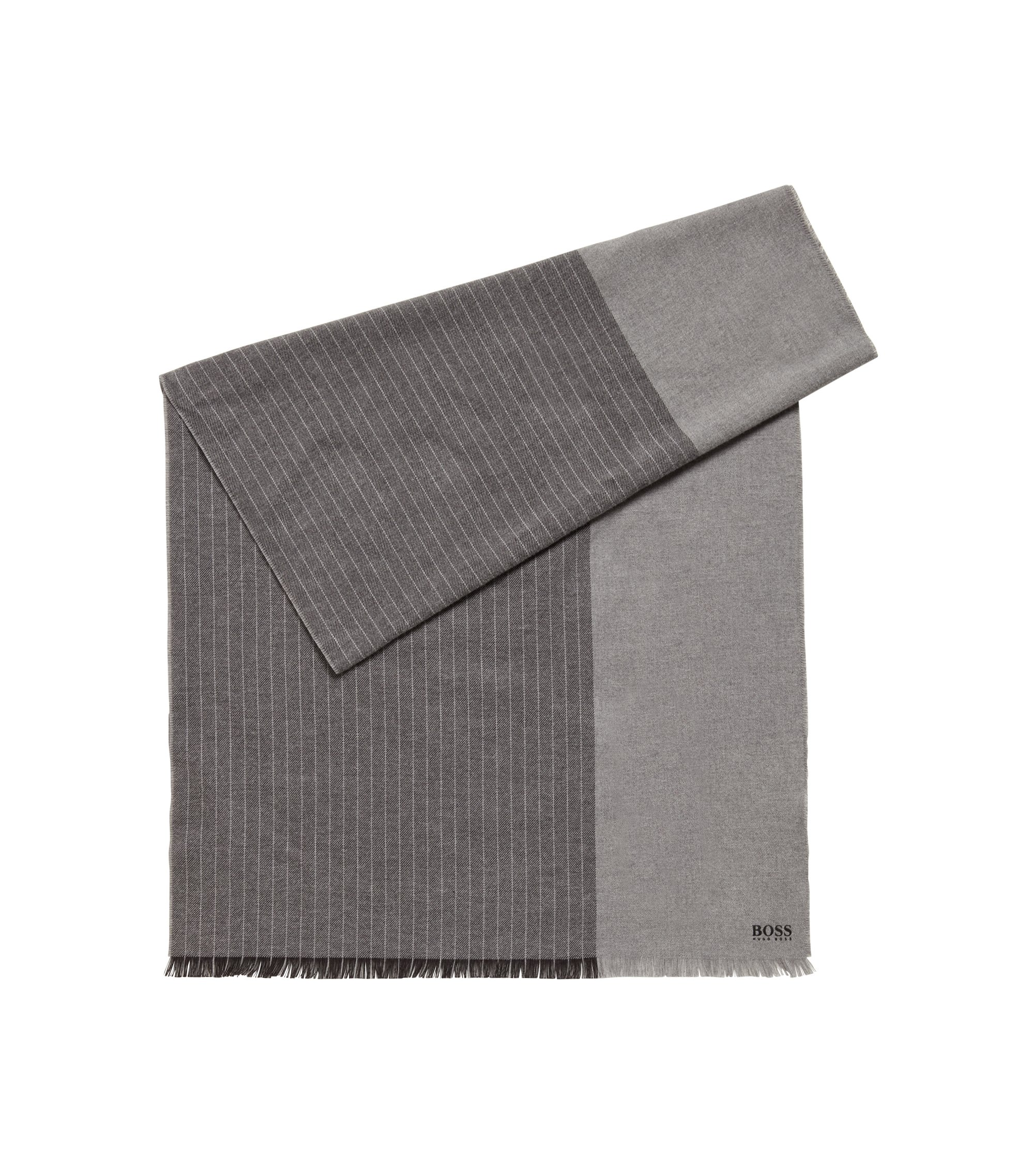 Brushed-cotton block-stripe scarf with logo detail, Grey