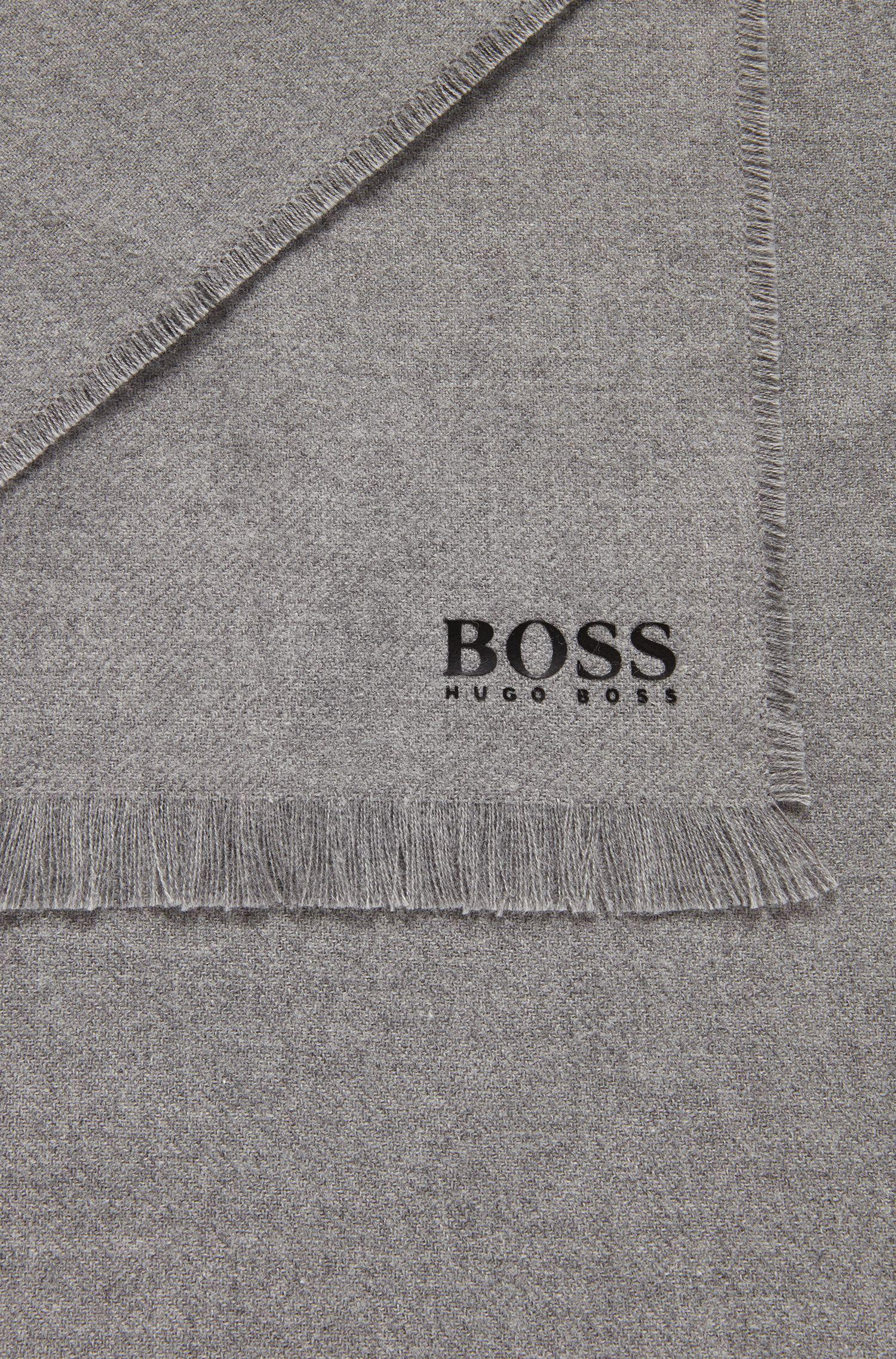 Sjaal van geborstelde katoen met blokstrepen en logodetail