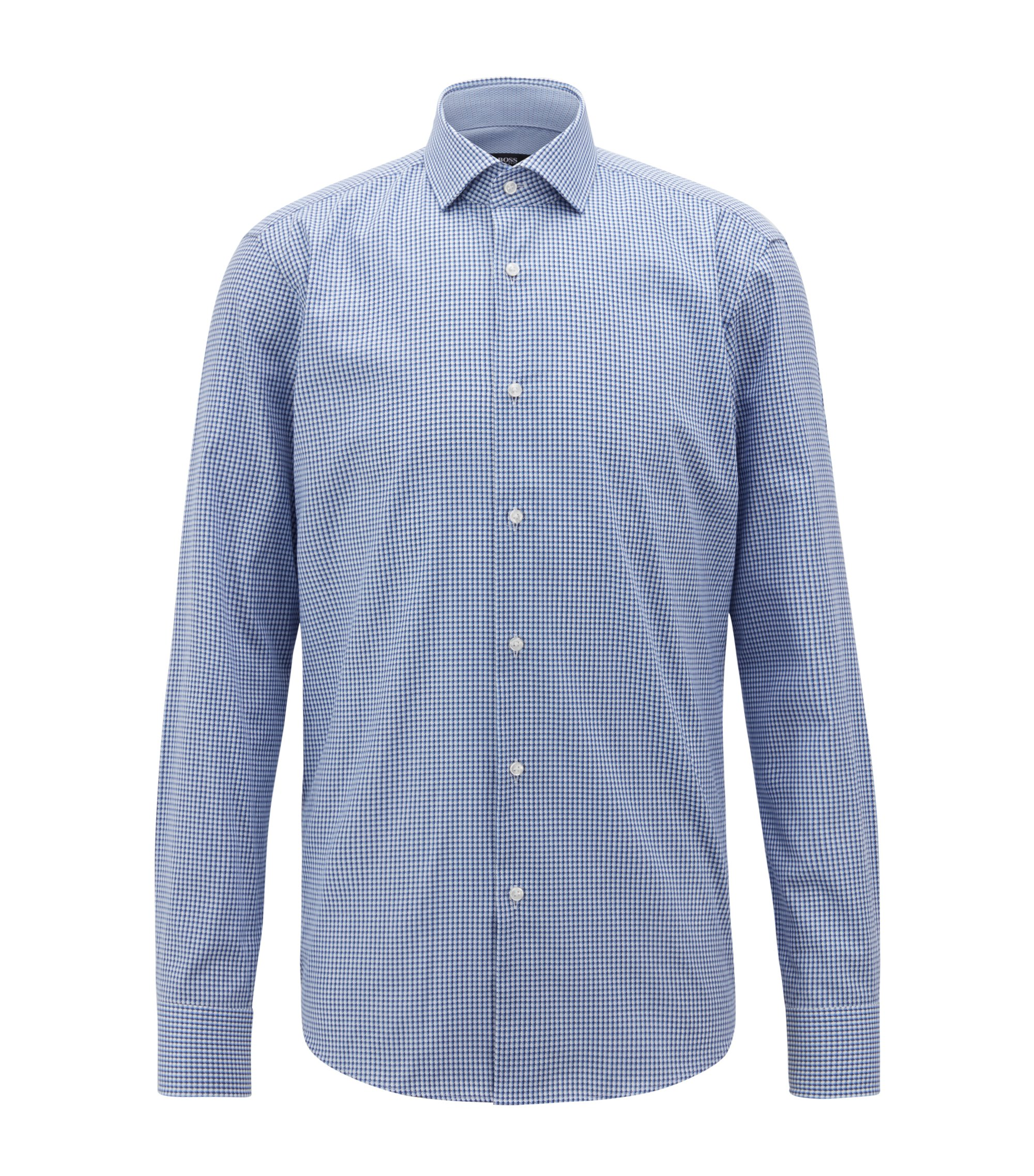 Regular-fit shirt in Italian-made checked cotton, Blue