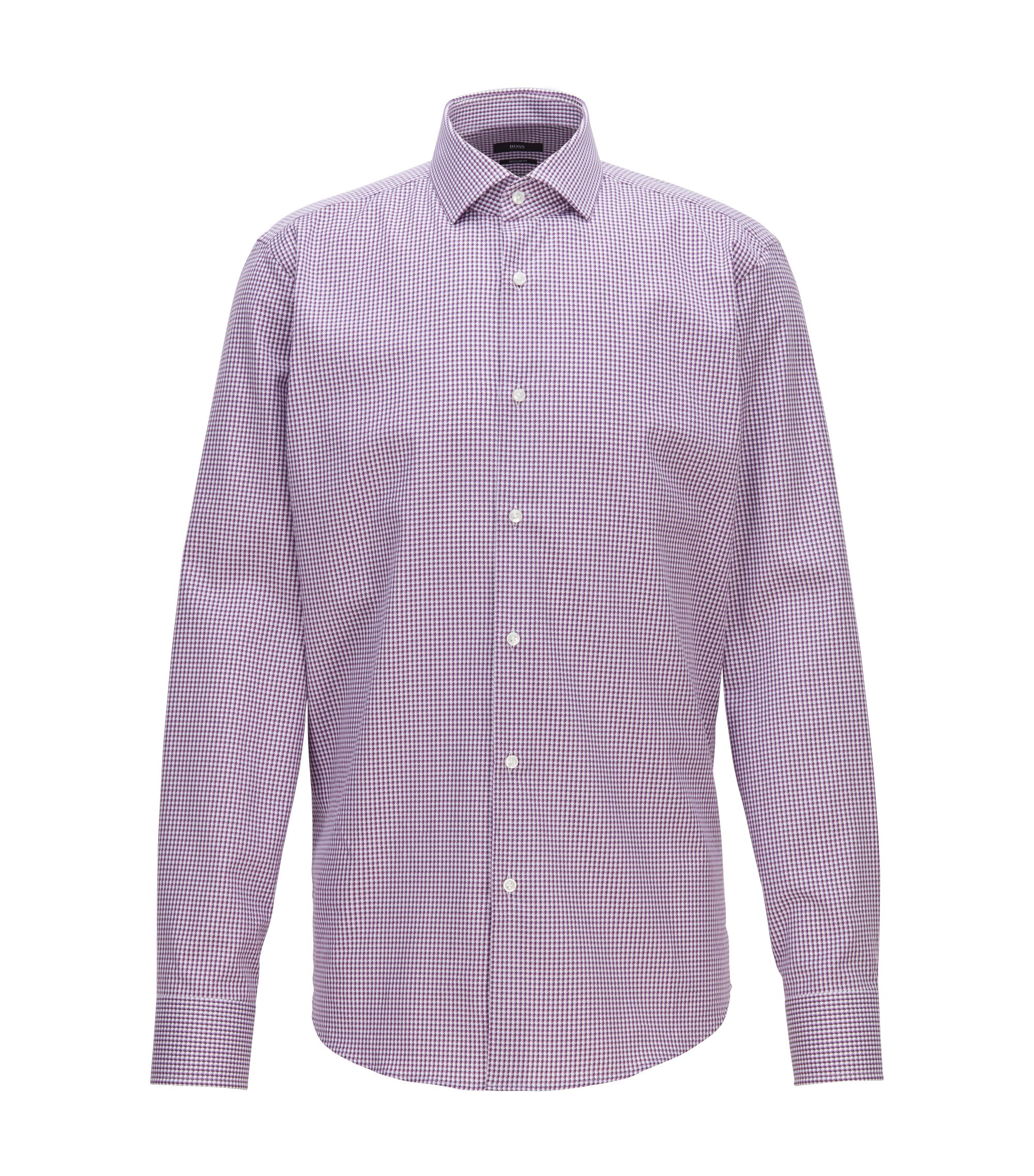 Chemise Regular Fit en coton italien à carreaux, Lilas