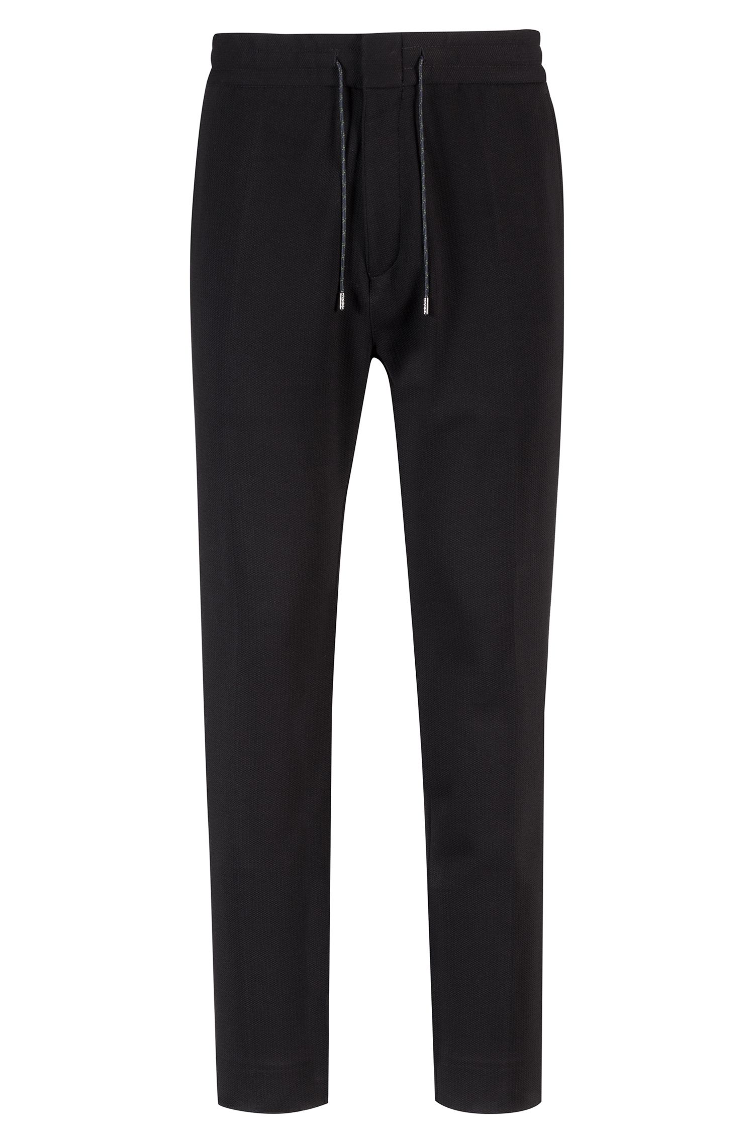Tapered-fit trousers in technical stretch fabric, Black
