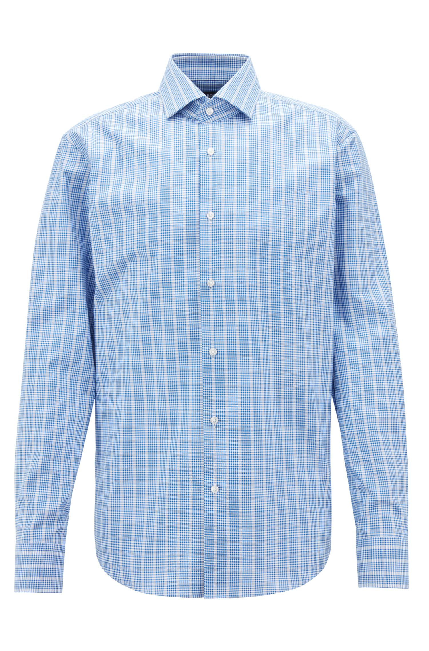 Glen-check shirt in cotton with Fresh Active finishing, Blue