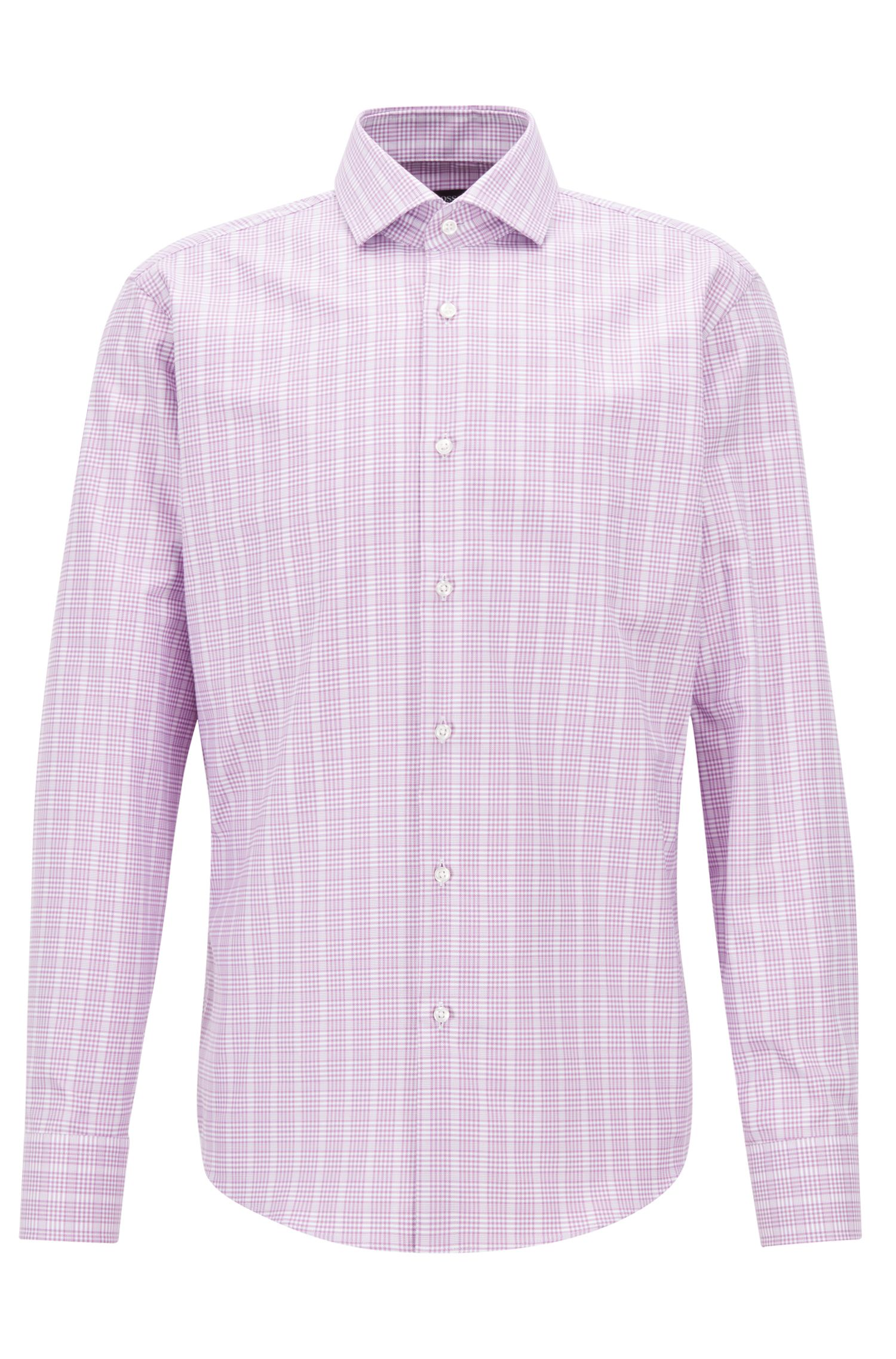 Glen-check shirt in cotton with Fresh Active finishing, Purple