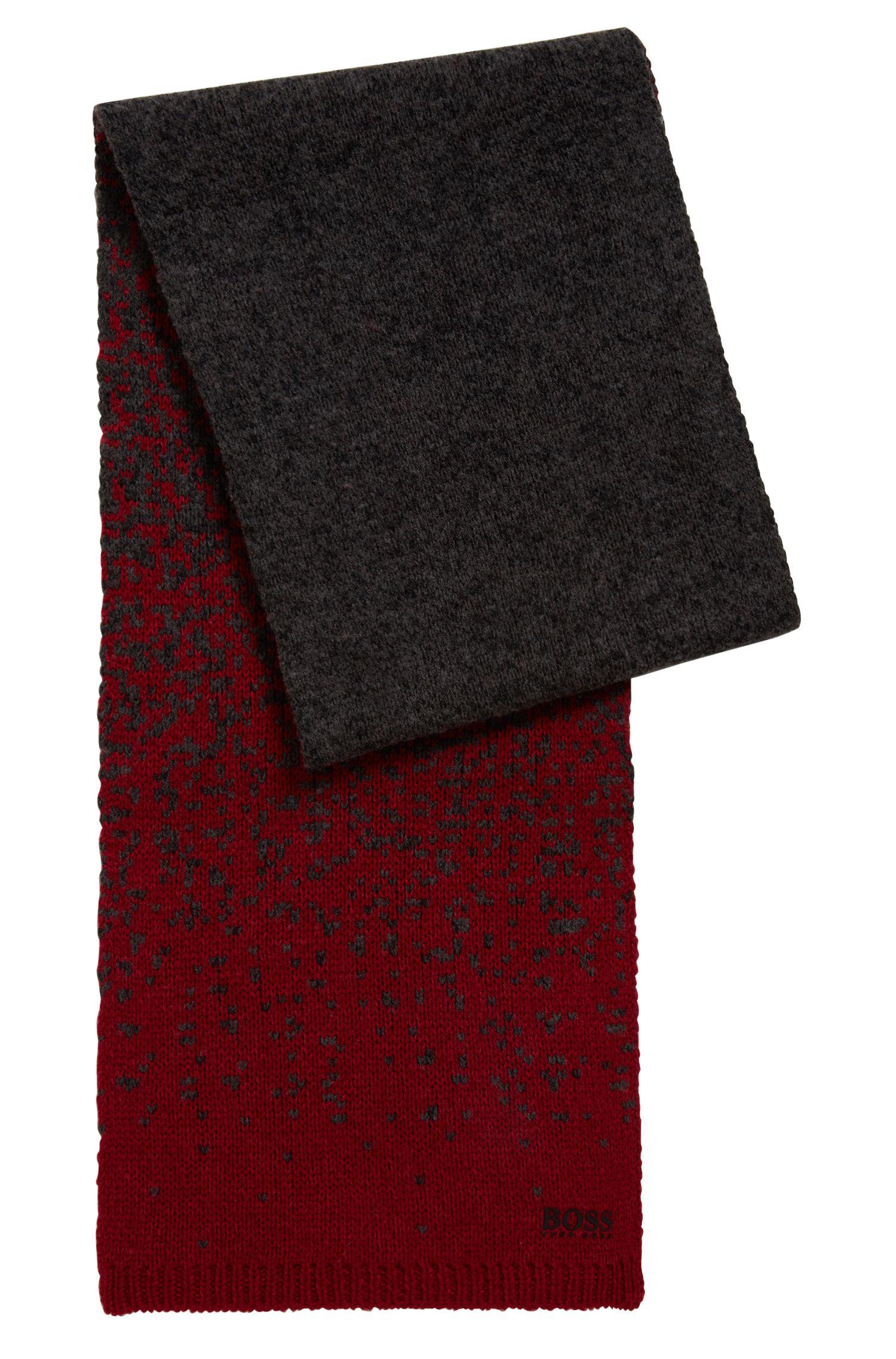 Zweifarbiger Schal aus nachhaltigem Material-Mix mit Wolle, Anthrazit